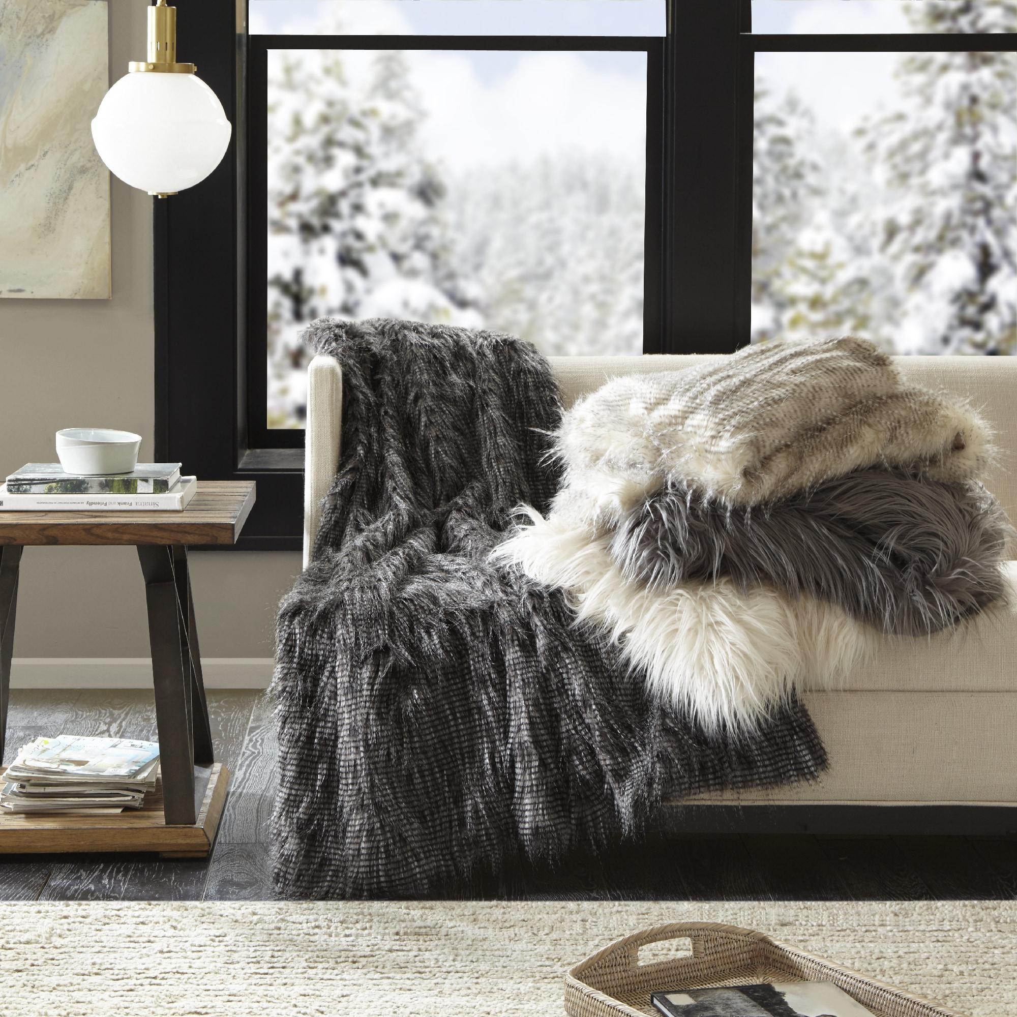 Shop Madison Park Adelaide Year Round Premium Luxury Faux Fur Throw ... 89ae5b8d59e12