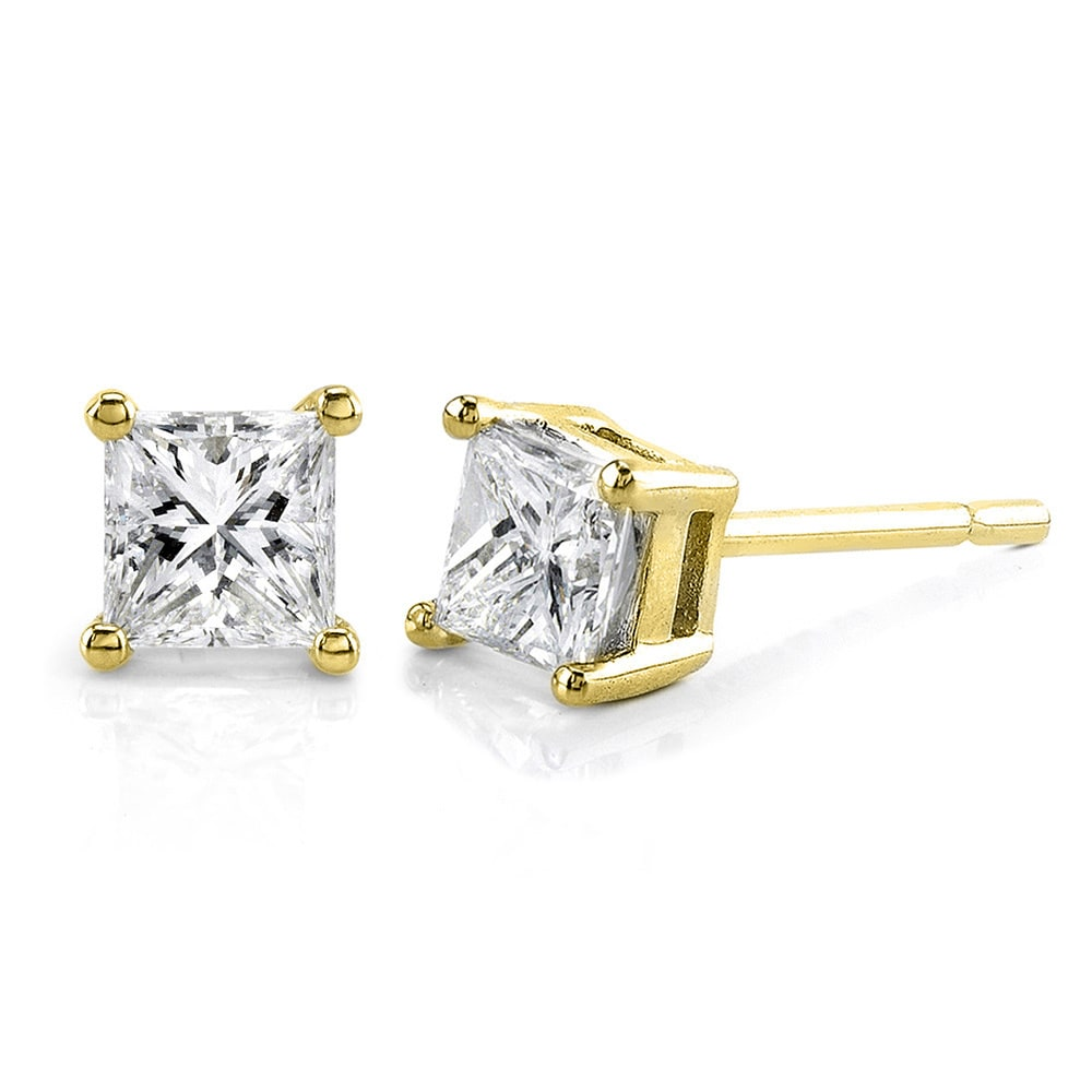 prong earrings yellow diamond men stud k square princess in gold cut