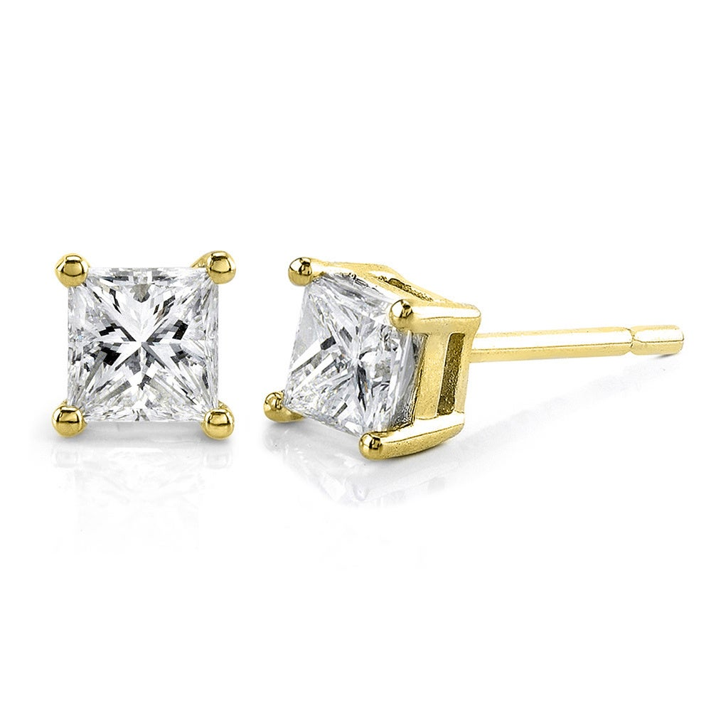 diamond back square cubic princess zirconia in earrings cut stud screw kt ct