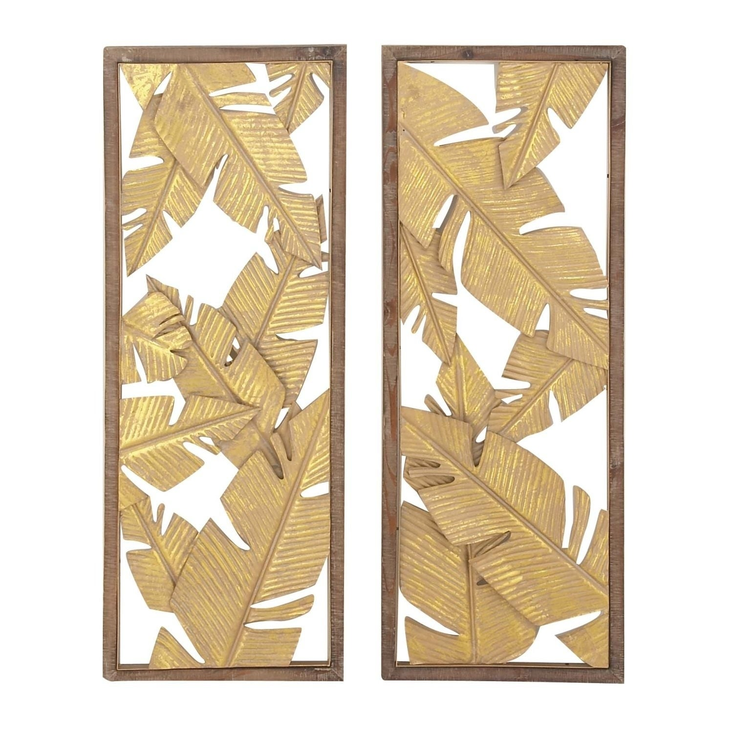 Studio 350 Metal Wood Wall Decor Set of 2, 13 inches wide, 34 inches ...
