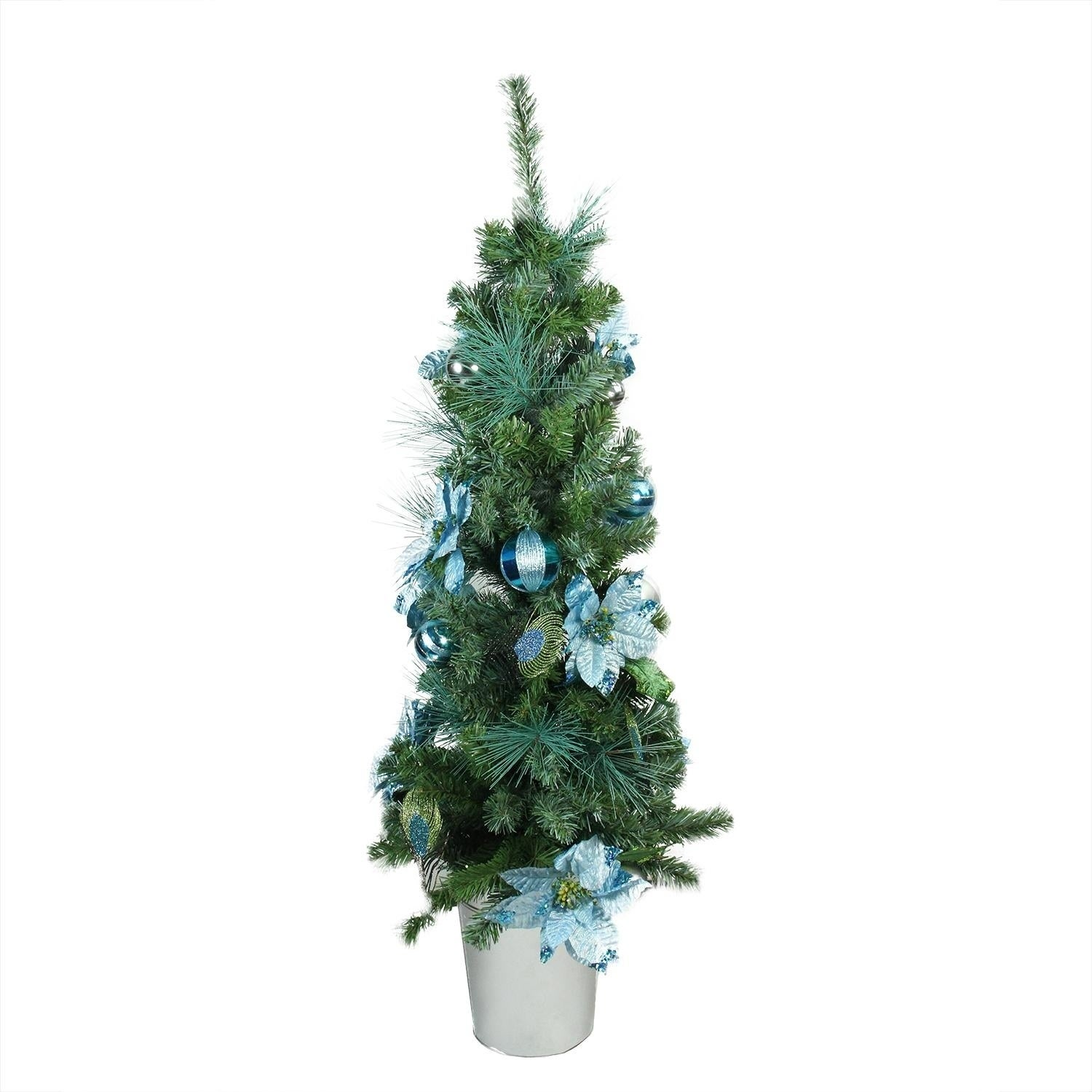 "Shop 48"" Pre-Decorated Peacock Blue and Silver Potted Artificial Christmas Tree - Unlit - Free Shipping Today - Overstock - 17359549"