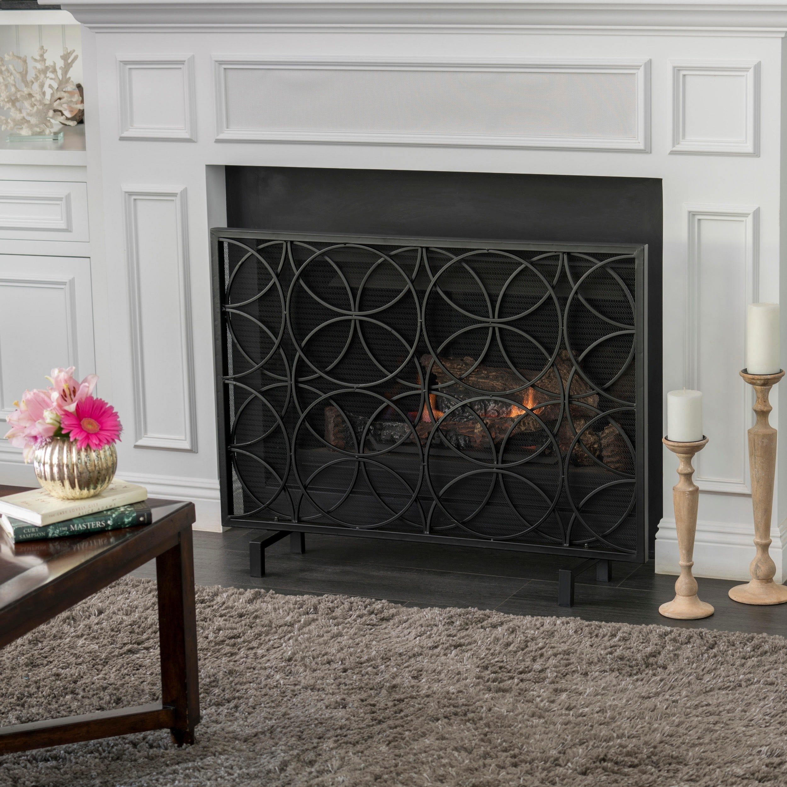 Shop Valeno Single Panel Iron Fireplace Screen By Christopher Knight