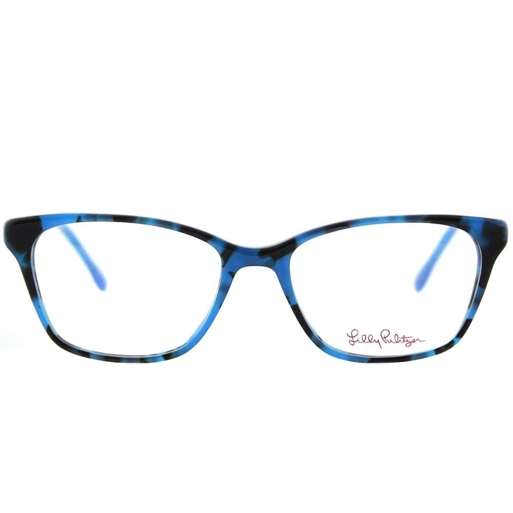 Lilly Pulitzer Rectangle Lindley BL/MB Blue Marble Frame Eyeglasses ...
