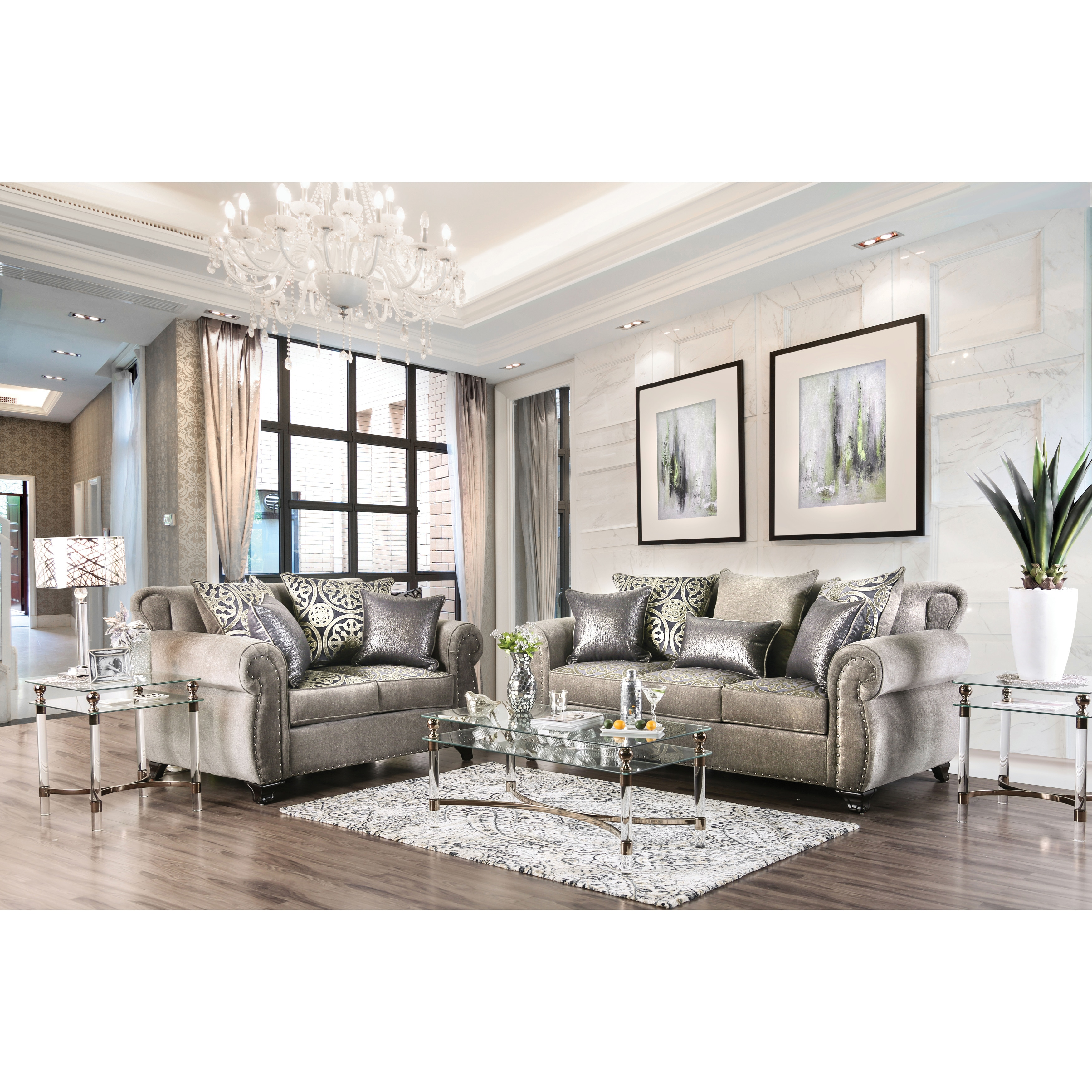 Superieur Shop Furniture Of America Daeler Classic 2 Piece Chenille Sofa Set   Free  Shipping Today   Overstock.com   17372984
