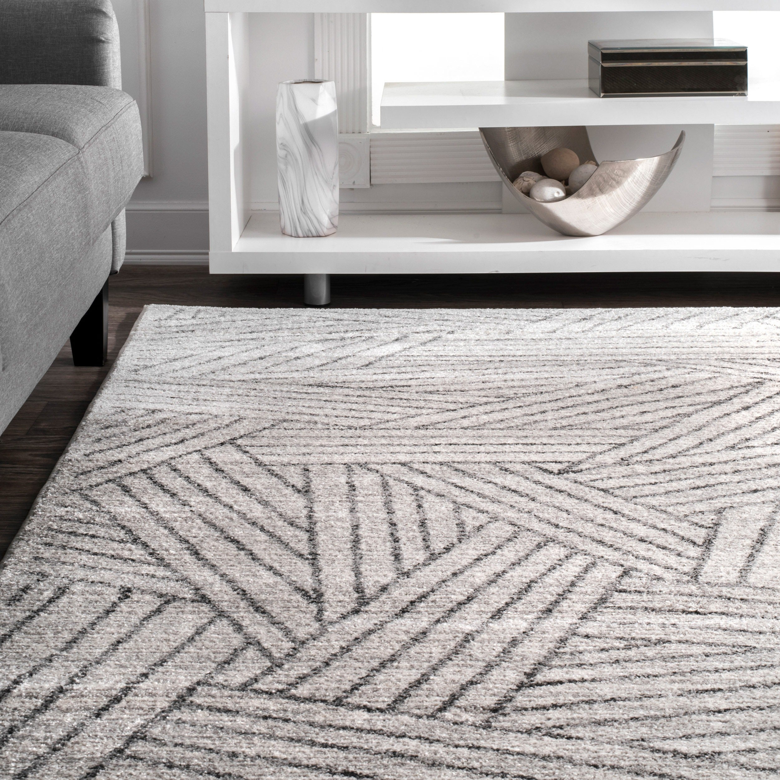 Nuloom Contemporary Overling Grey Striped Boards Area Rug 5 X 8 On Free Shipping Today 17373654