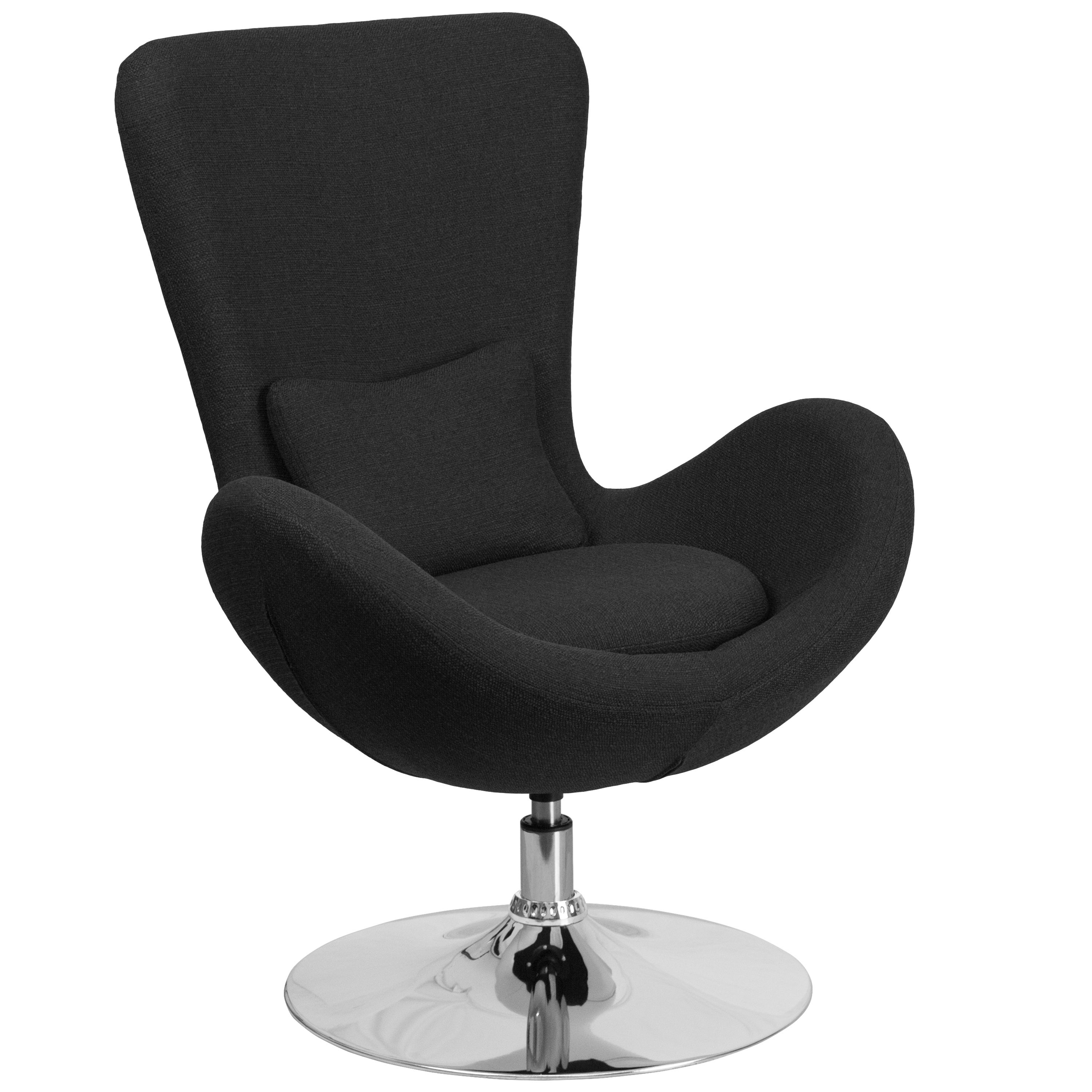 Curved wing design black fabric upholstered swivel adjustable living room accent chair