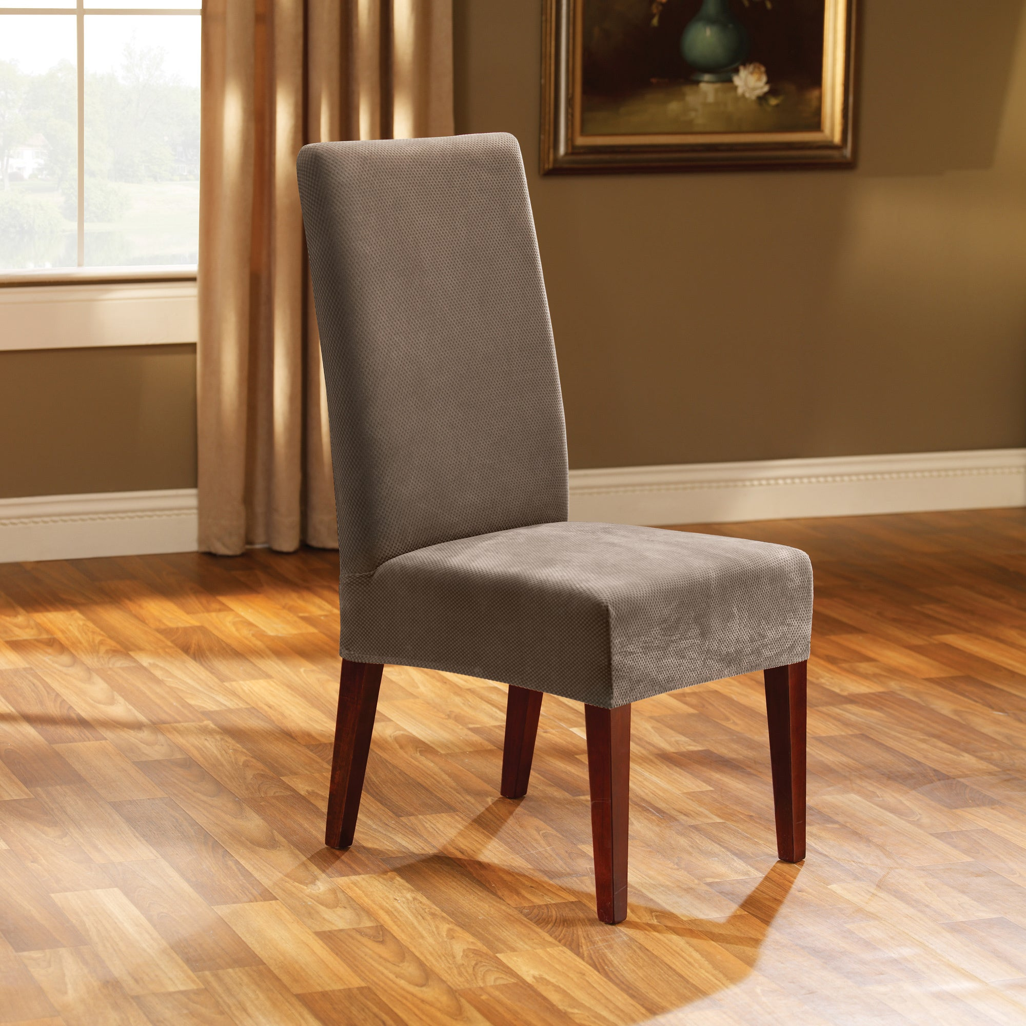 Shop Sure Fit Stretch Pique Short Dining Room Chair Cover On Sale