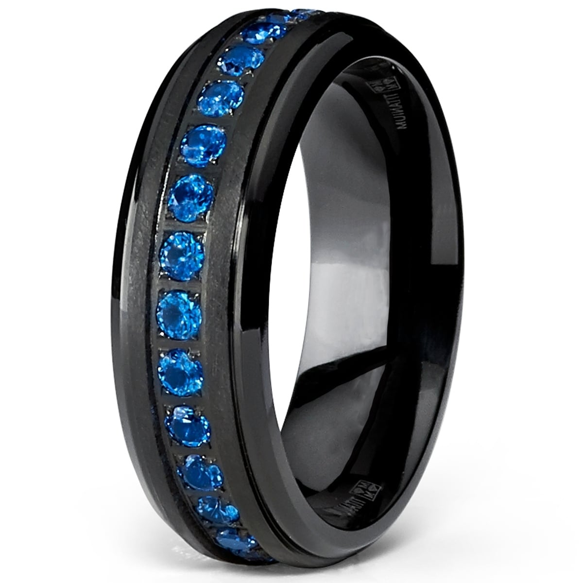 Oliveti Men's Black Titanium Wedding Band Eternity Ring Blue Cubic Zirconia  7mm - Free Shipping On Orders Over $45 - Overstock.com - 23615682