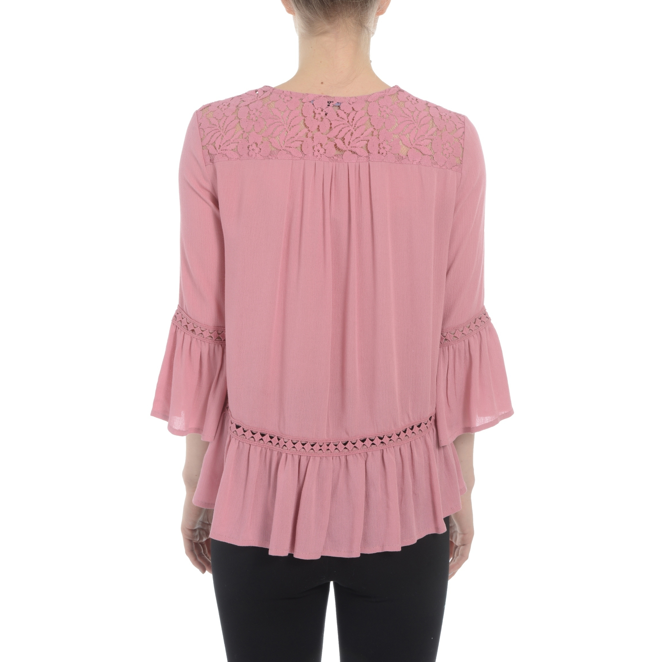Shop Romeo and Juliet Couture Ladies Peasant Top with Lace Detail ...