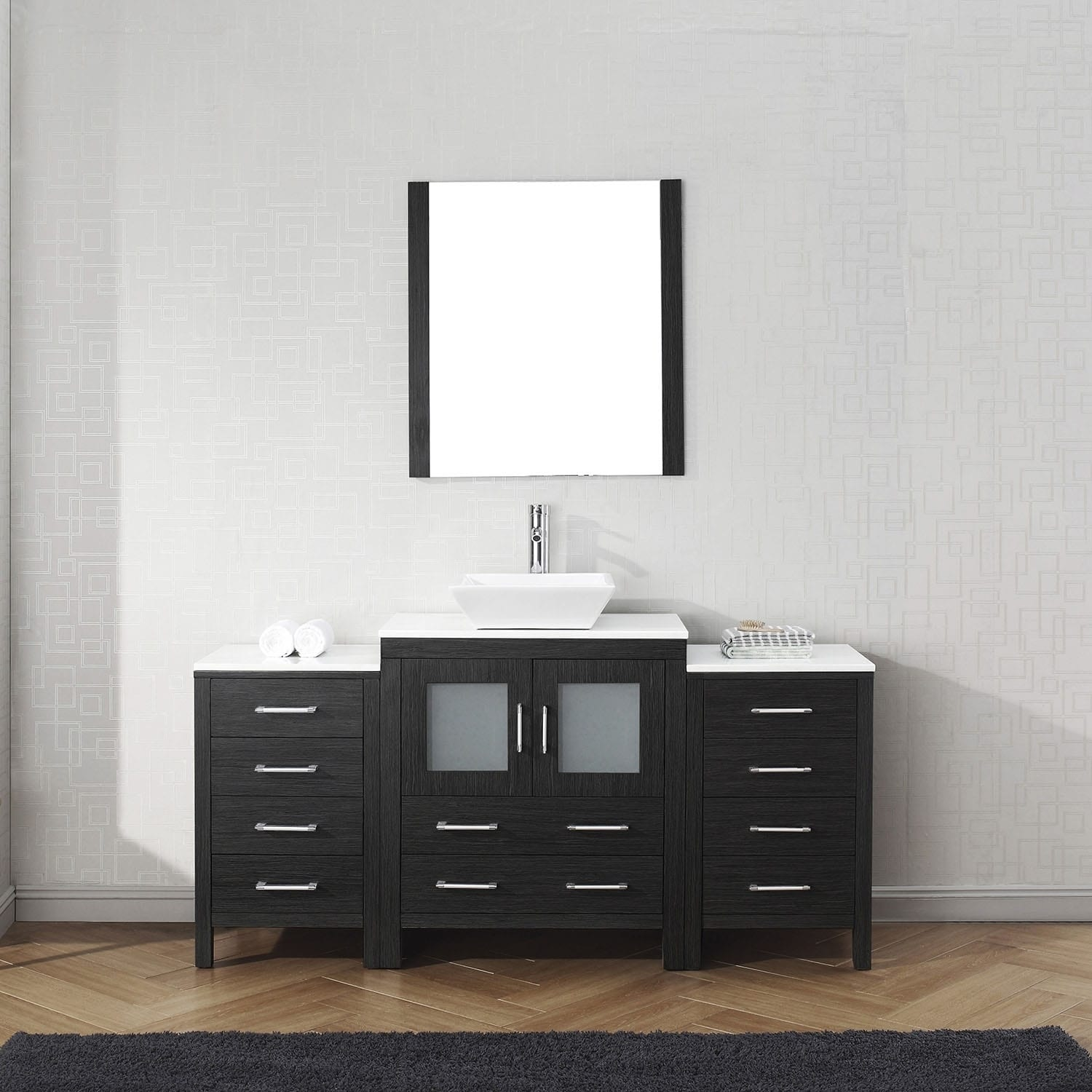 Virtu USA Dior 66-inch White Stone Single Bathroom Vanity Set with ...