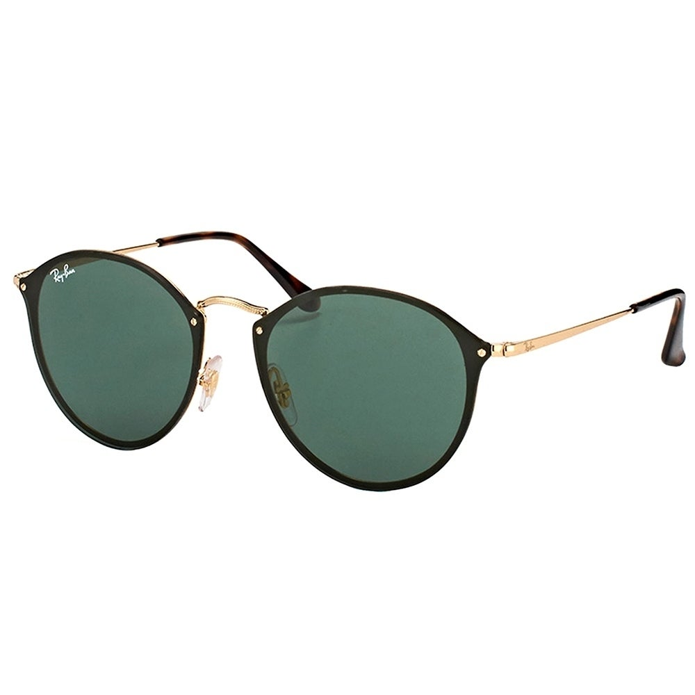 fa3c0d4a297 Ray-Ban Round RB3574N 001 71 Unisex Arista Frame Green Lens Sunglasses
