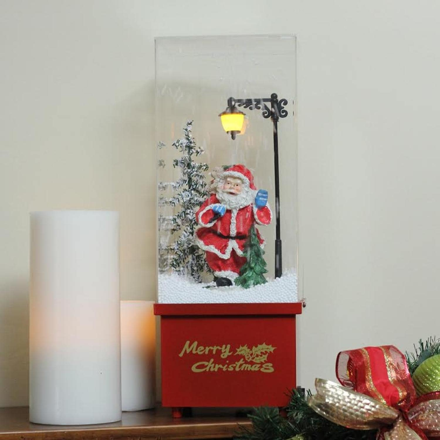 shop 1625 lighted musical santa claus snowing christmas table top snow dome free shipping today overstockcom 17395973 - Snowing Christmas Decoration