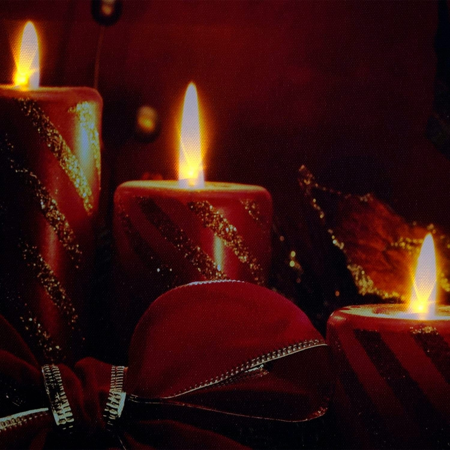 Led Lighted Red Glitter Striped Candles With Poinsettia & Bow