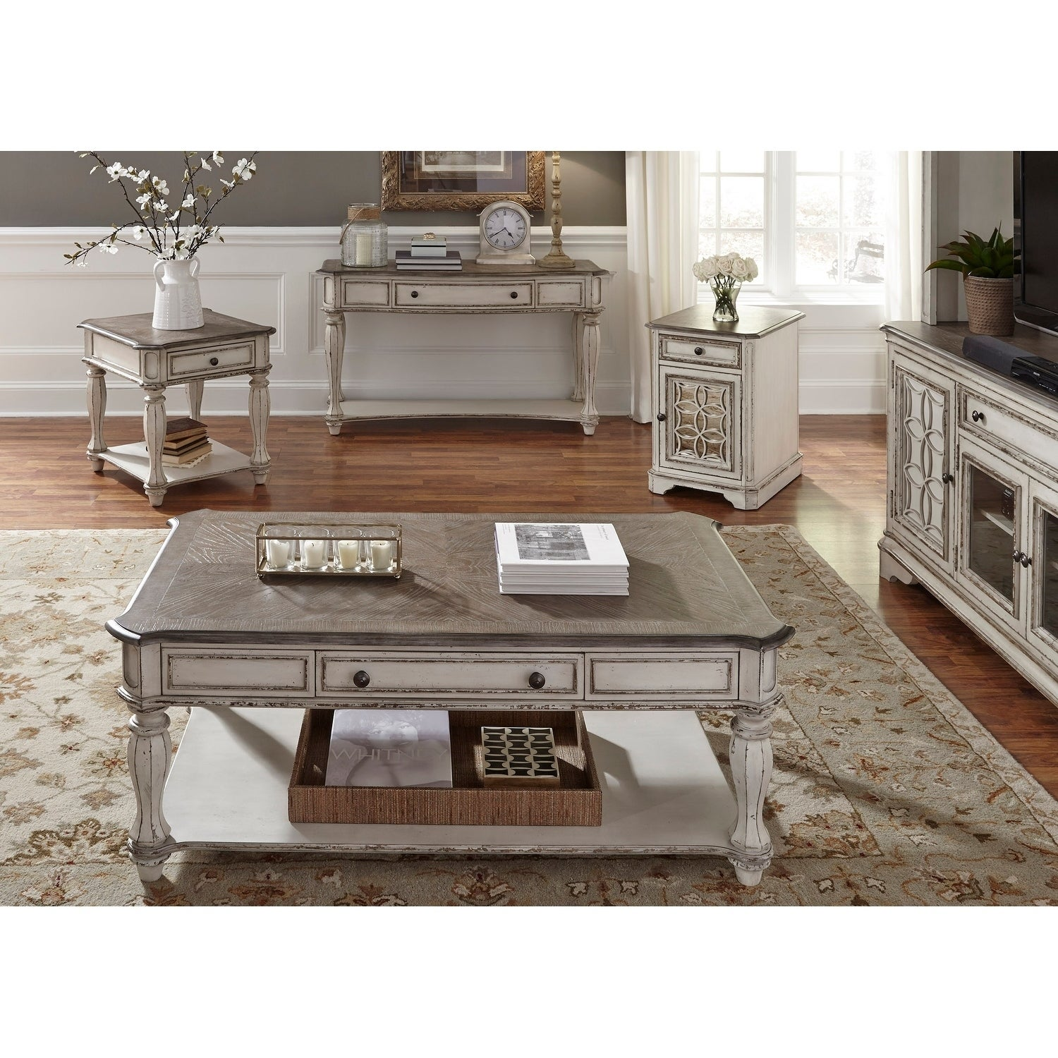 Shop Magnolia Manor Antique White End Table   Free Shipping Today    Overstock.com   17403318