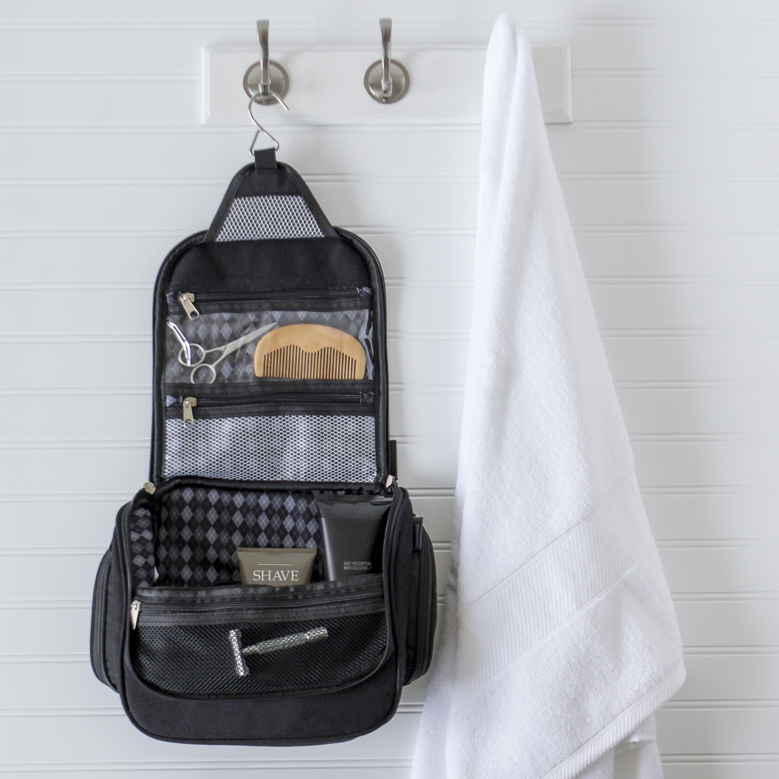 Personalized Men S Waxed Canvas And Leather Hanging Toiletry Bag Free Shipping On Orders Over 45 17403333