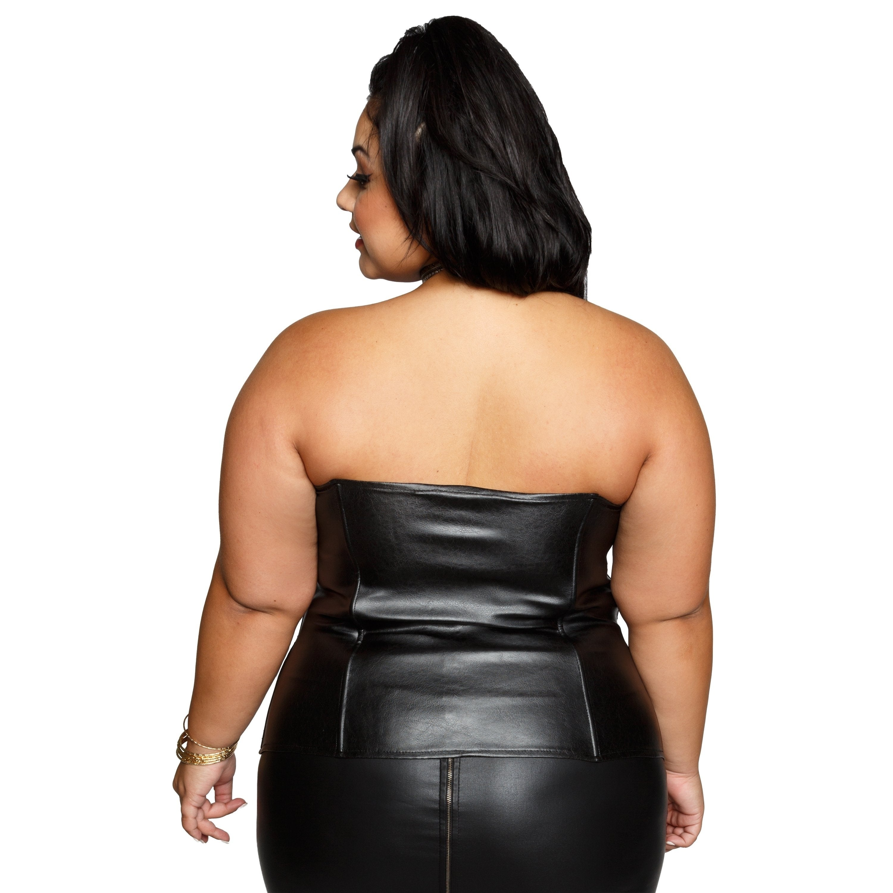 97219d3c7df48 Shop Xehar Womens Plus Size Sexy Faux Leather Sweetheart Tube Top - Free  Shipping Today - Overstock - 17404120