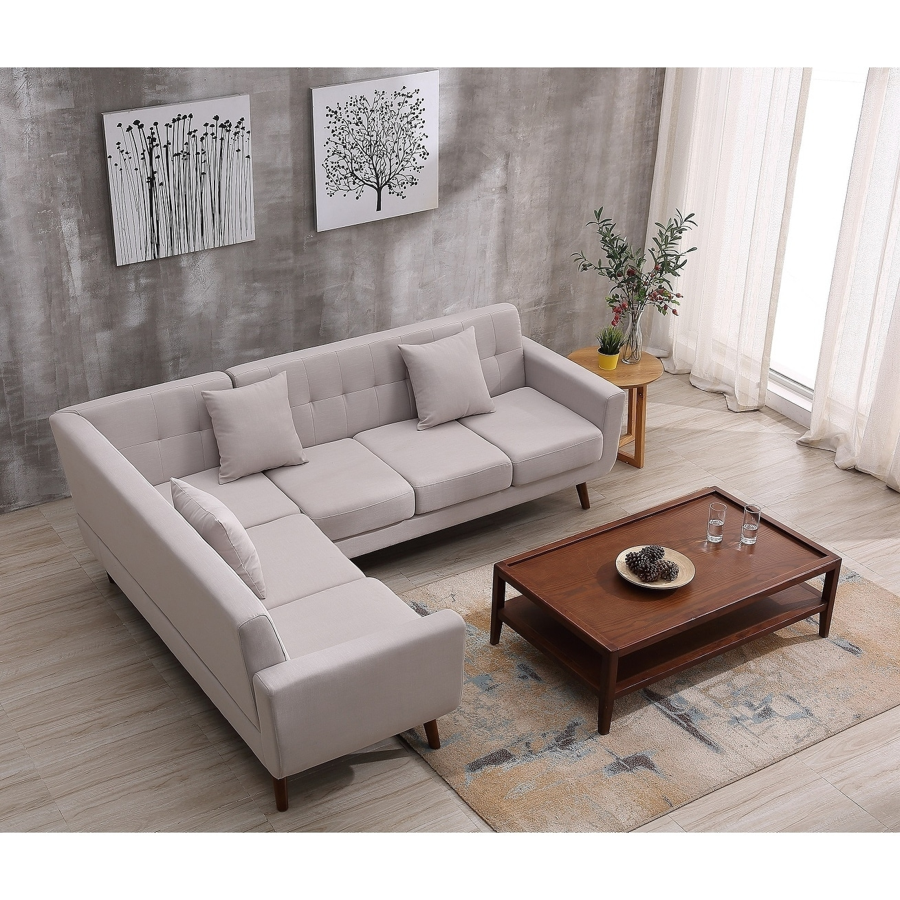 Shop Mid Century Right Facing Tufted Linen Fabric Upholstered L