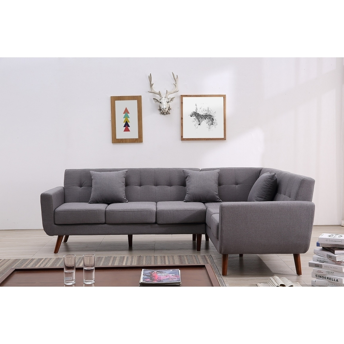 Mid Century Right Facing Tufted Linen Fabric Upholstered L Shaped Sectional Sofa