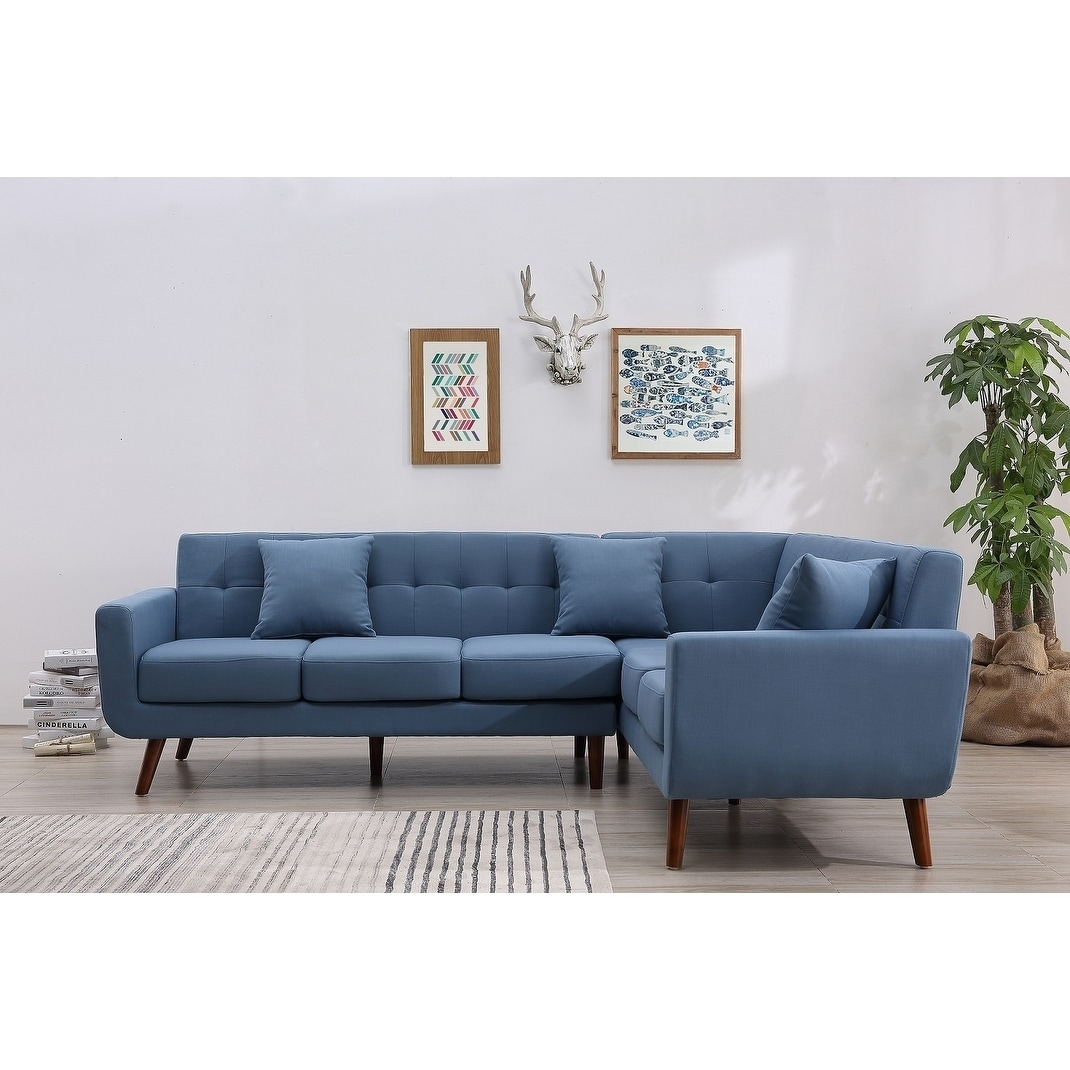 Shop Mid Century Right Facing Tufted Linen Fabric Upholstered L Shaped  Sectional Sofa   Free Shipping Today   Overstock.com   17404991