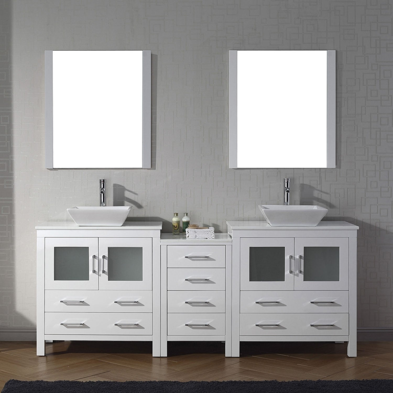 Virtu Usa Dior 82 Inch White Stone Double Bathroom Vanity Set With Faucet Options Free Shipping Today 17405085