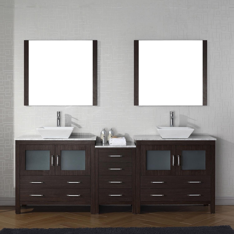 Shop Virtu USA Dior Inch Carrara White Marble Double Bathroom - 90 inch bathroom vanity