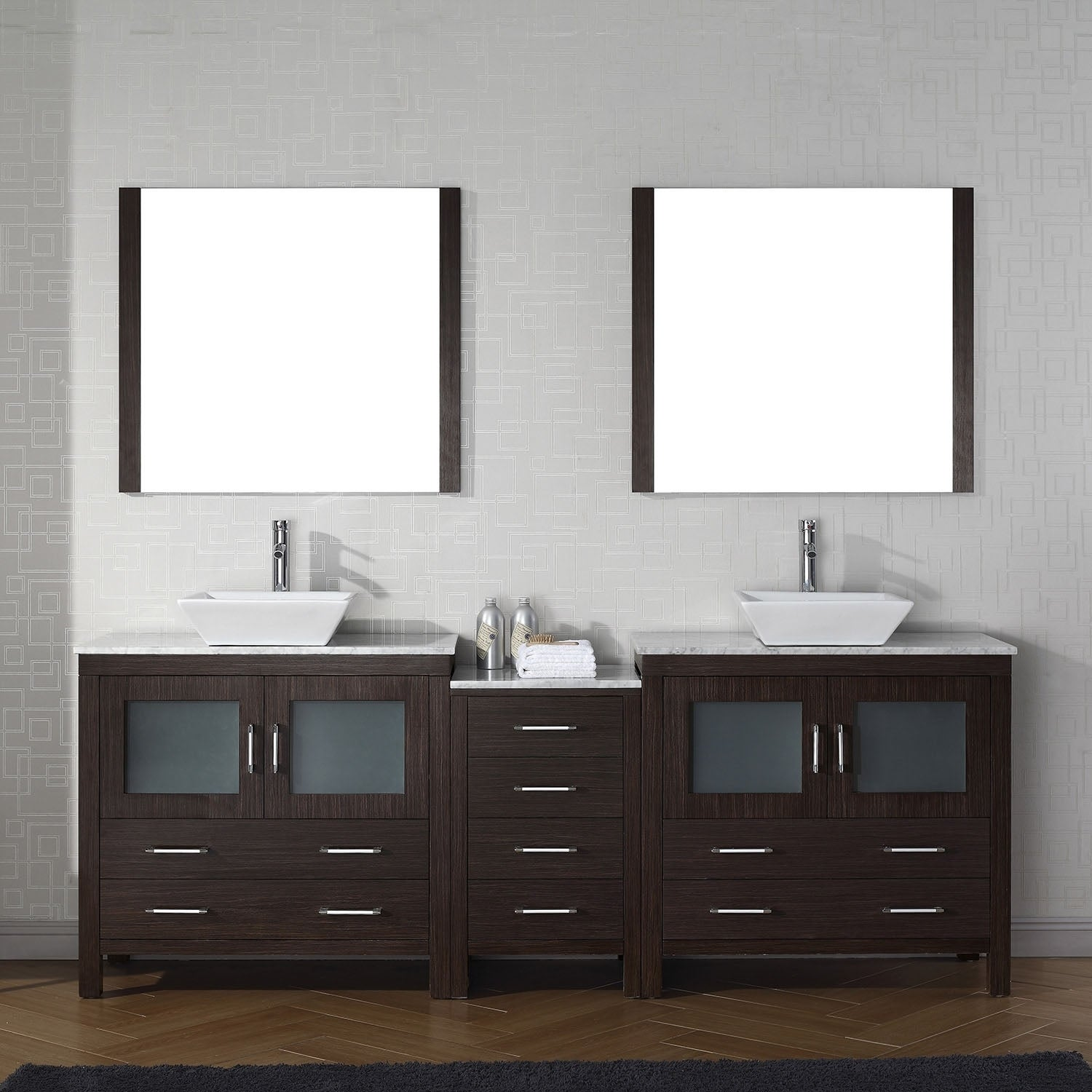 Virtu Usa Dior 82 Inch Carrara White Marble Double Bathroom Vanity Set With Faucet Options Free Shipping Today 23642648