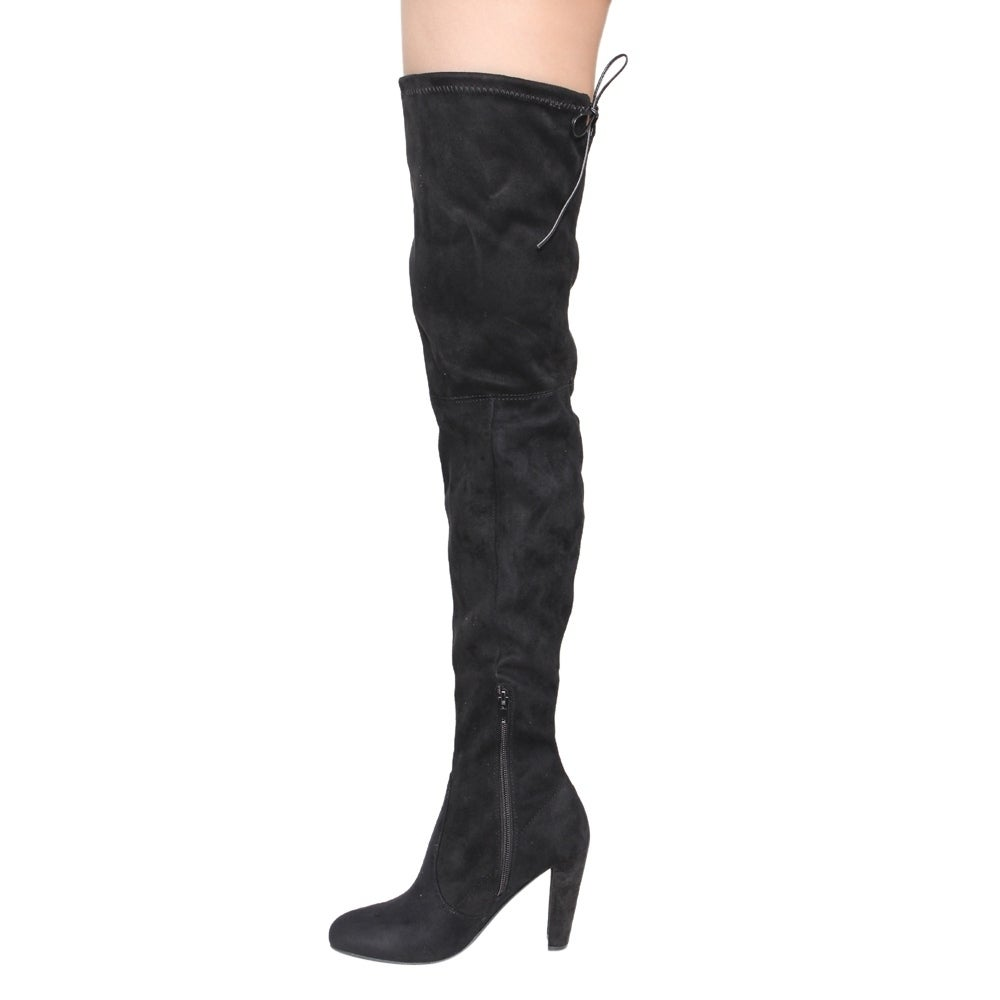 6c83dc6c11b Wild Diva Lounge FF18 Women's Drawstring Stretchy Over The Knee Block Heel  Boots