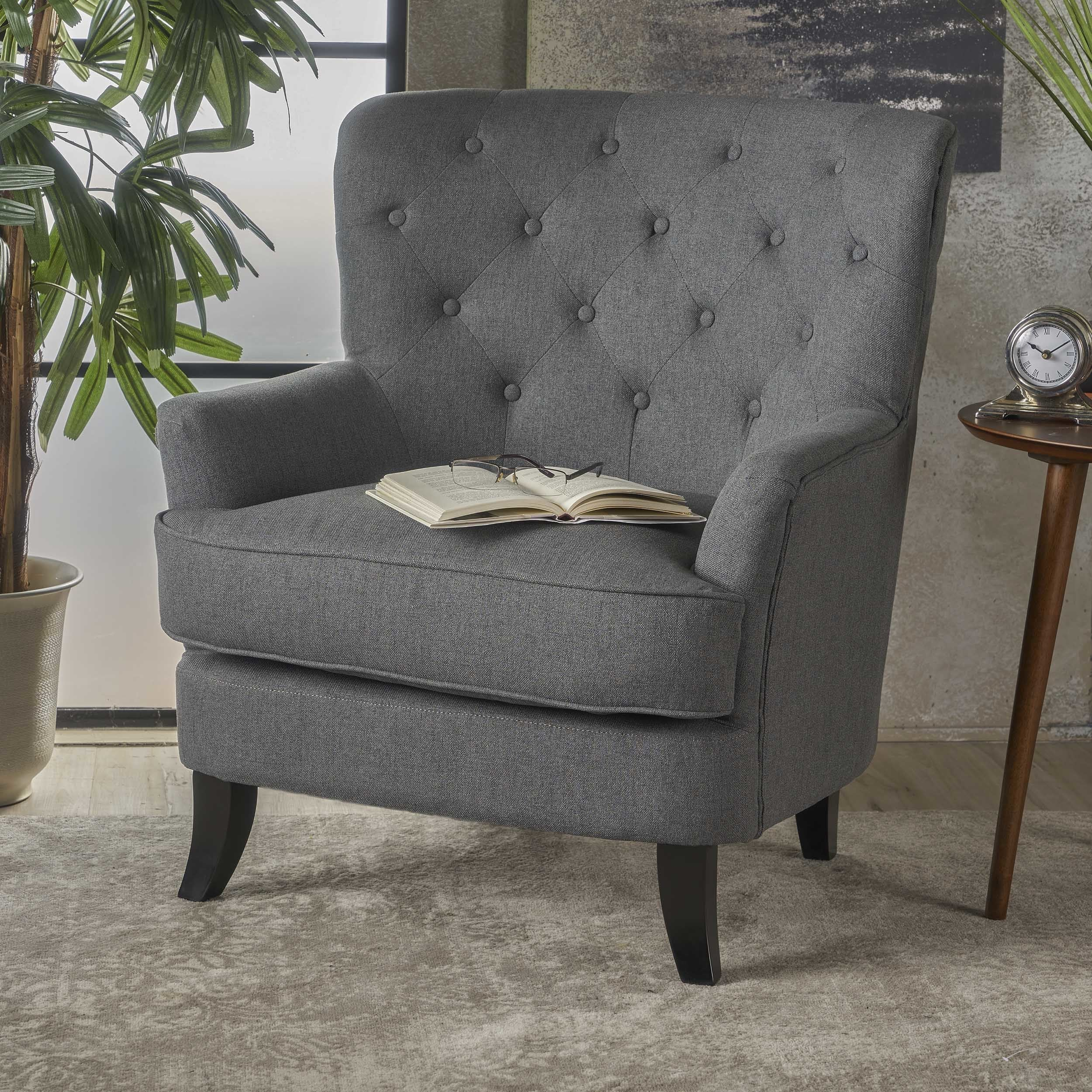 Anikki Tufted Fabric Club Chair By Christopher Knight Home On Free Shipping Today 17405414