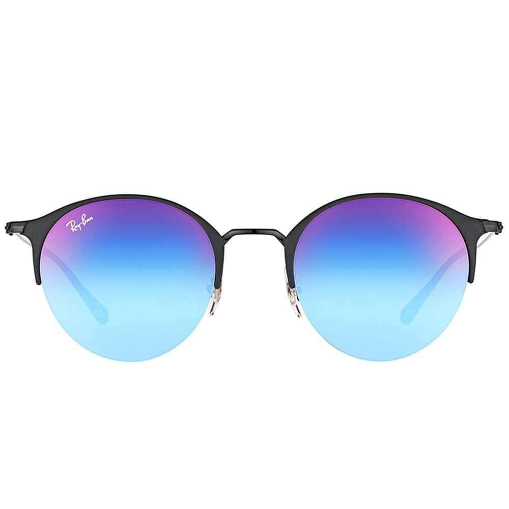 05c0d40507 Shop Ray-Ban Round RB 3578 186 B1 Unisex Black Matte Black Frame Blue  Violet Gradient Mirror Lens Sunglasses - Free Shipping Today - Overstock -  17409585