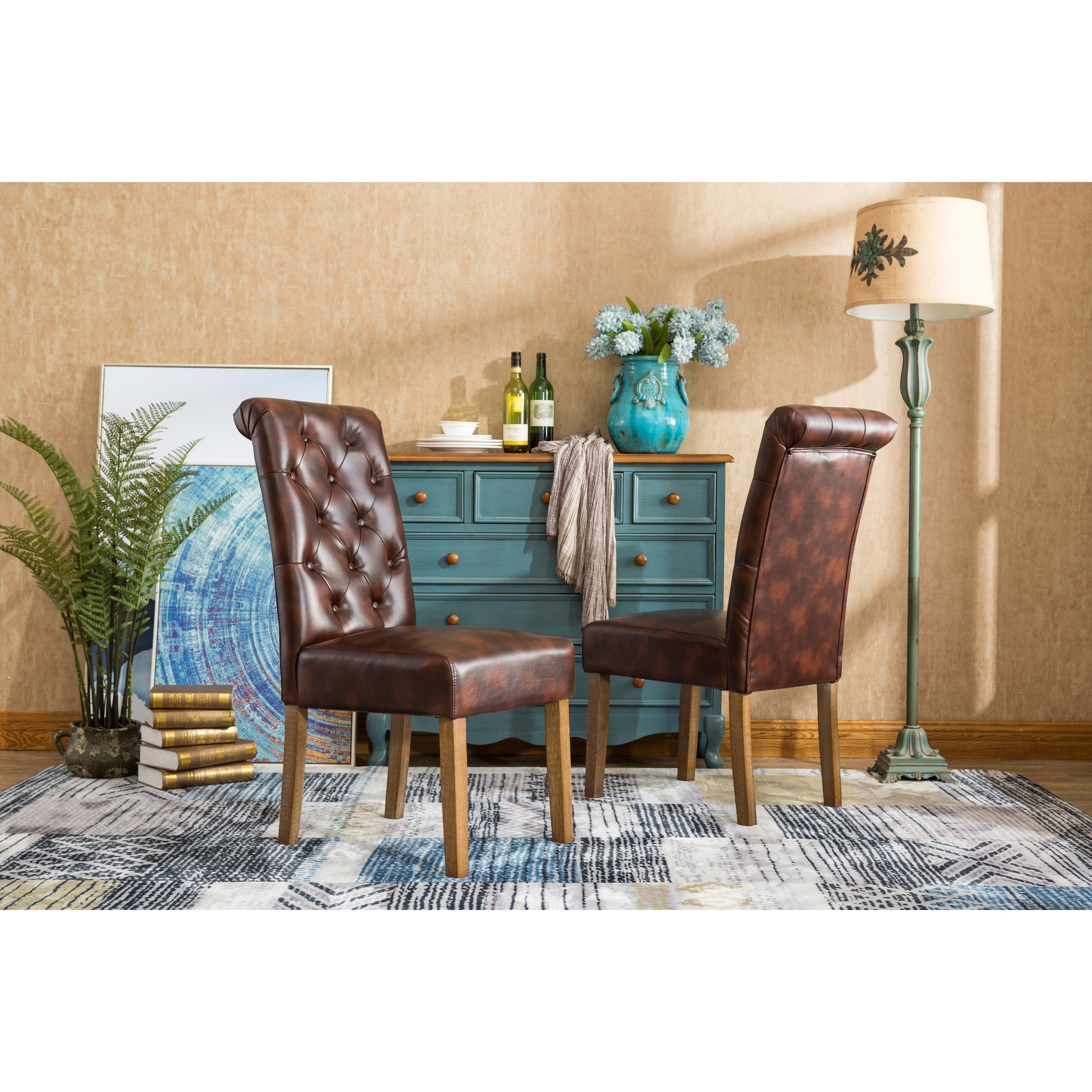 Shop Habit Faux Leather Tufted Parsons Dining Chairs,Set of 2 - Free ...