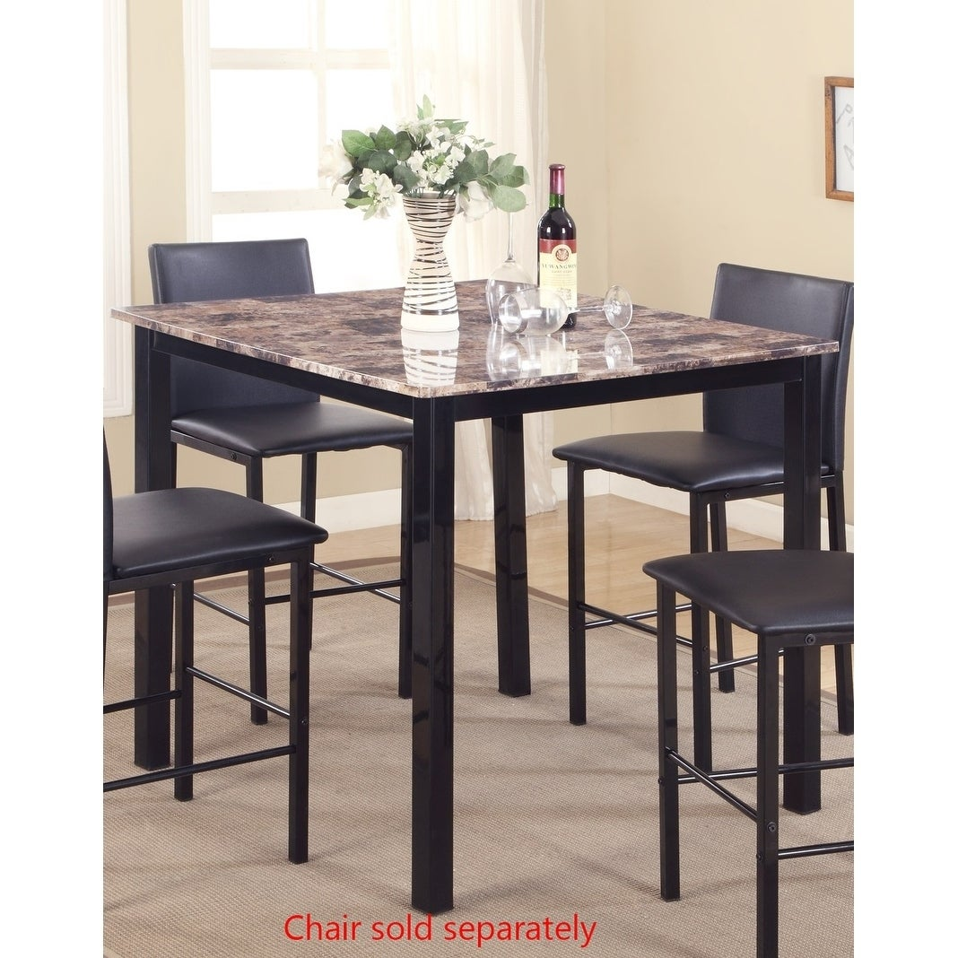 Citico Metal Counter Height Dining Table With Laminated Faux Marble Top Black