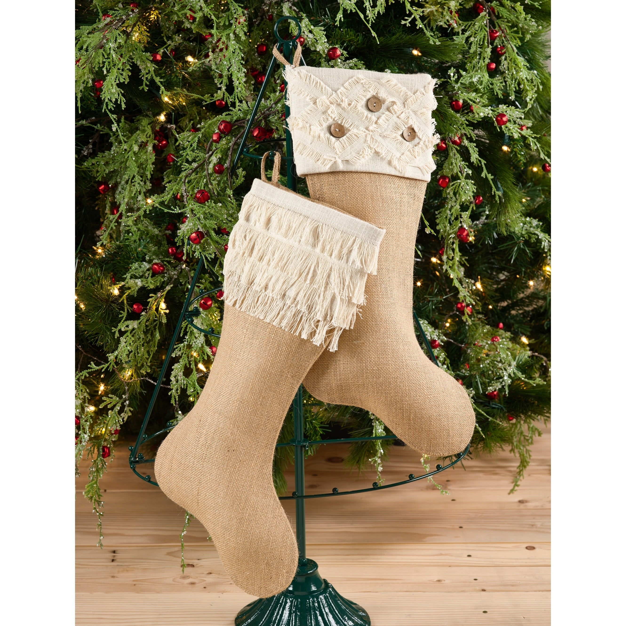 6684cc8f067 Shop Tiered Fringe Design Decorative Jute Christmas Stocking - On Sale -  Free Shipping On Orders Over  45 - Overstock - 17415283
