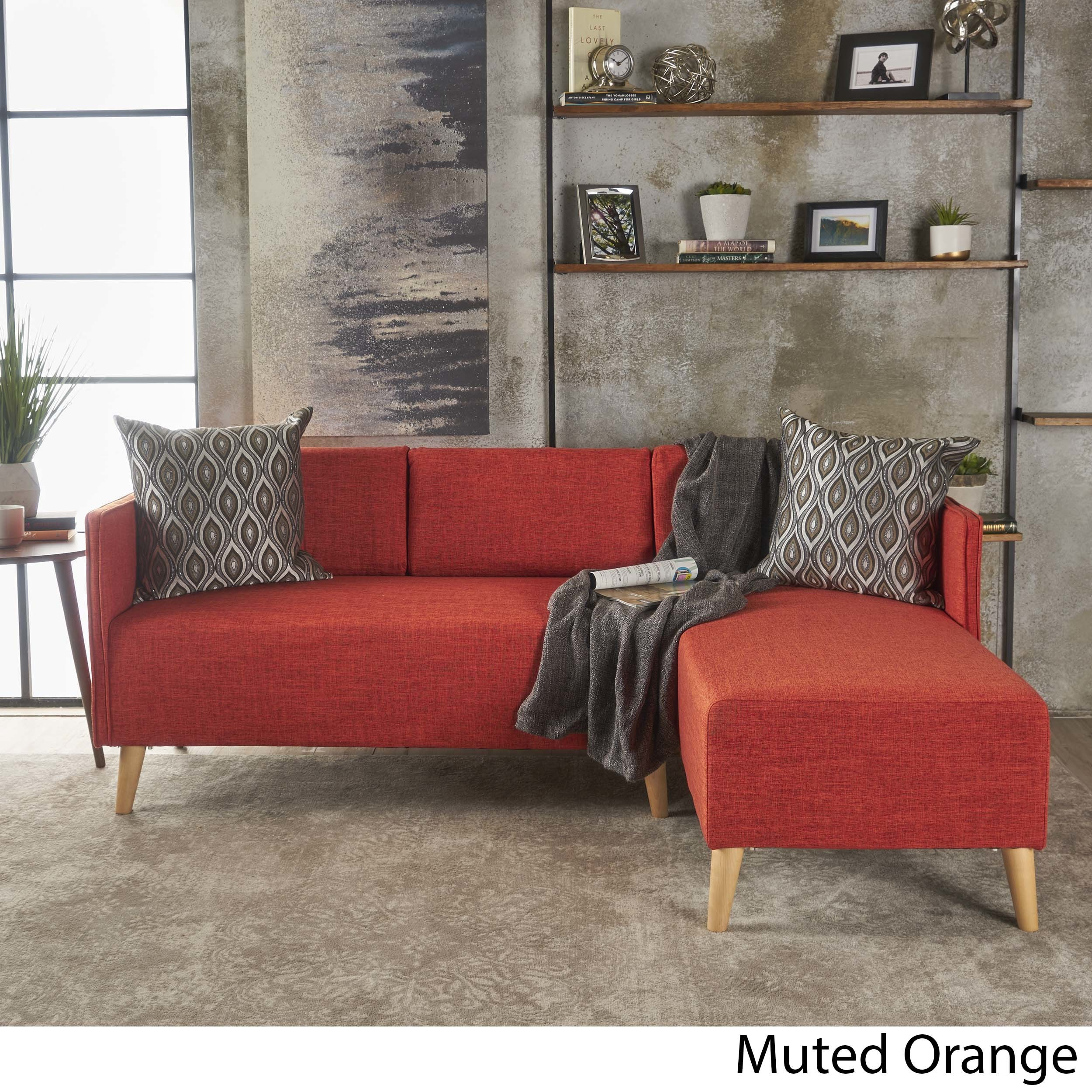 Augustus Modern 2 Piece Chaise Sectional Sofa Set By Christopher  ~ Sofa With Chaise Sectional