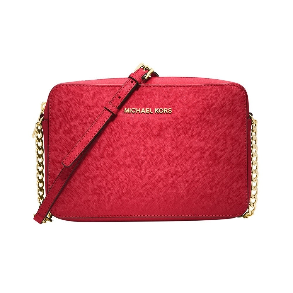 da14148ecd38 MICHAEL Michael Kors Jet Set Large Saffiano Leather Crossbody Bright Red silver  hardware
