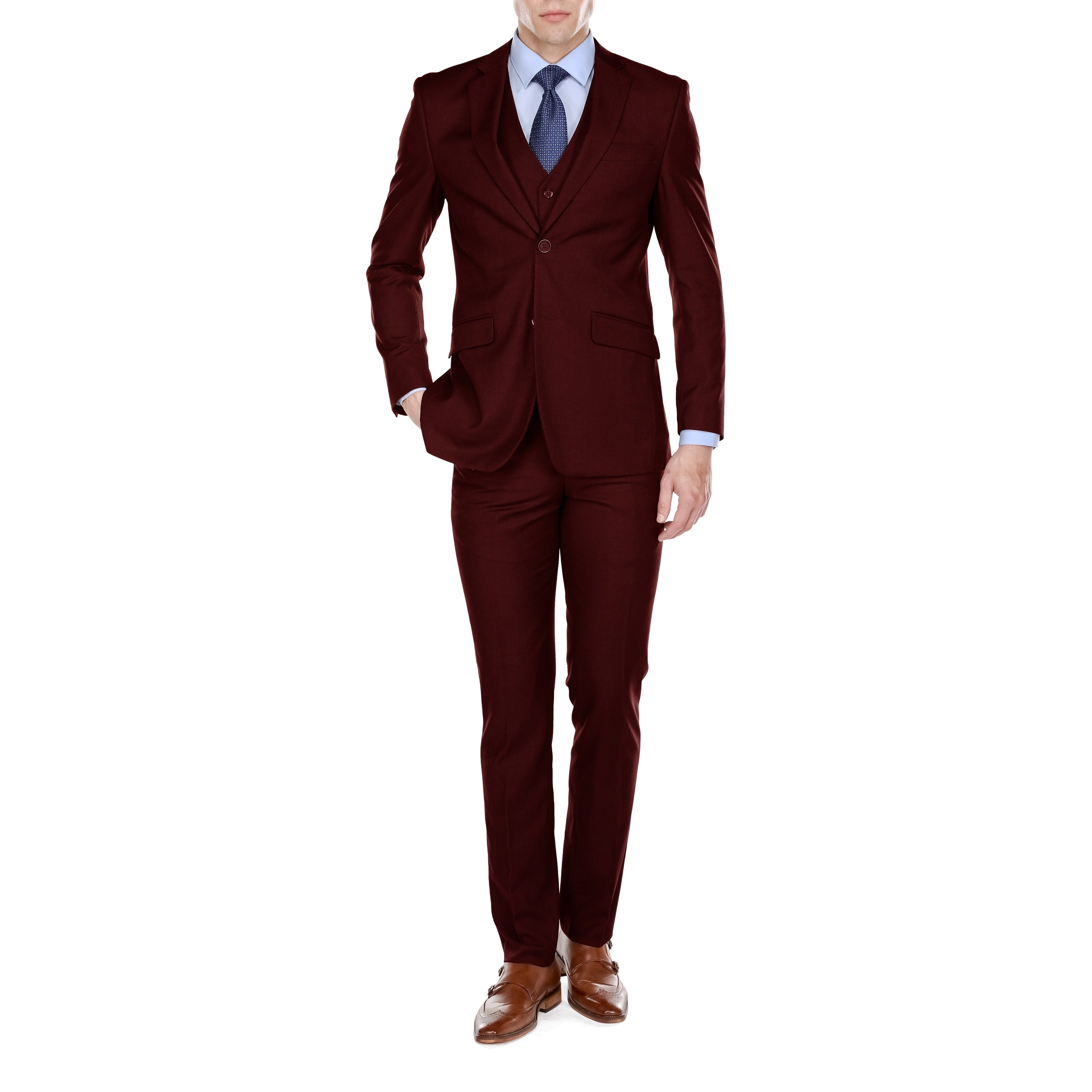6496a02050bf Shop Fino Uomo Men's Slim Fit 3 Piece Suits - On Sale - Free ...