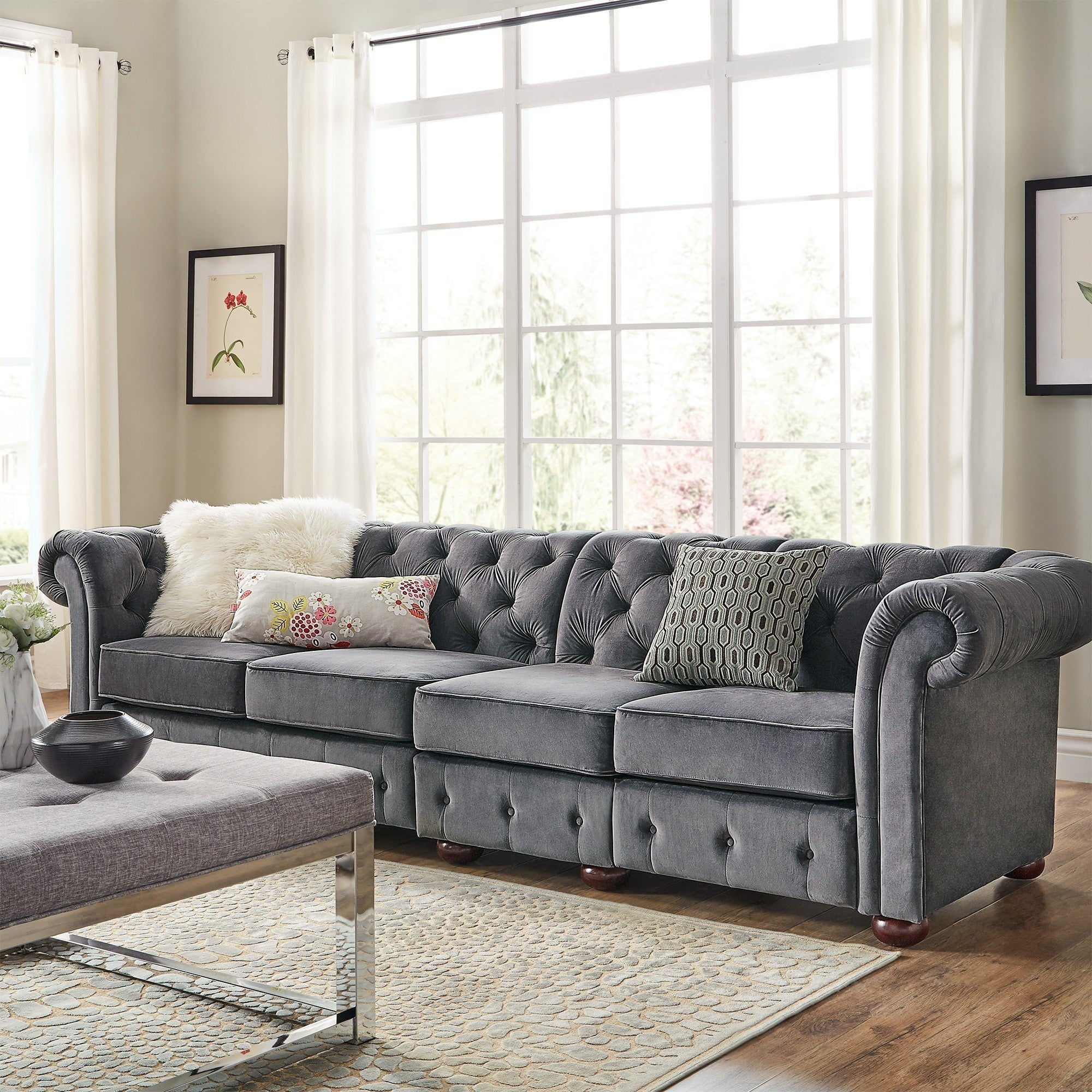 Knightsbridge Velvet Tufted Scroll Arm Chesterfield Extra Long Sofa by  iNSPIRE Q Artisan - Free Shipping Today - Overstock.com - 23667374