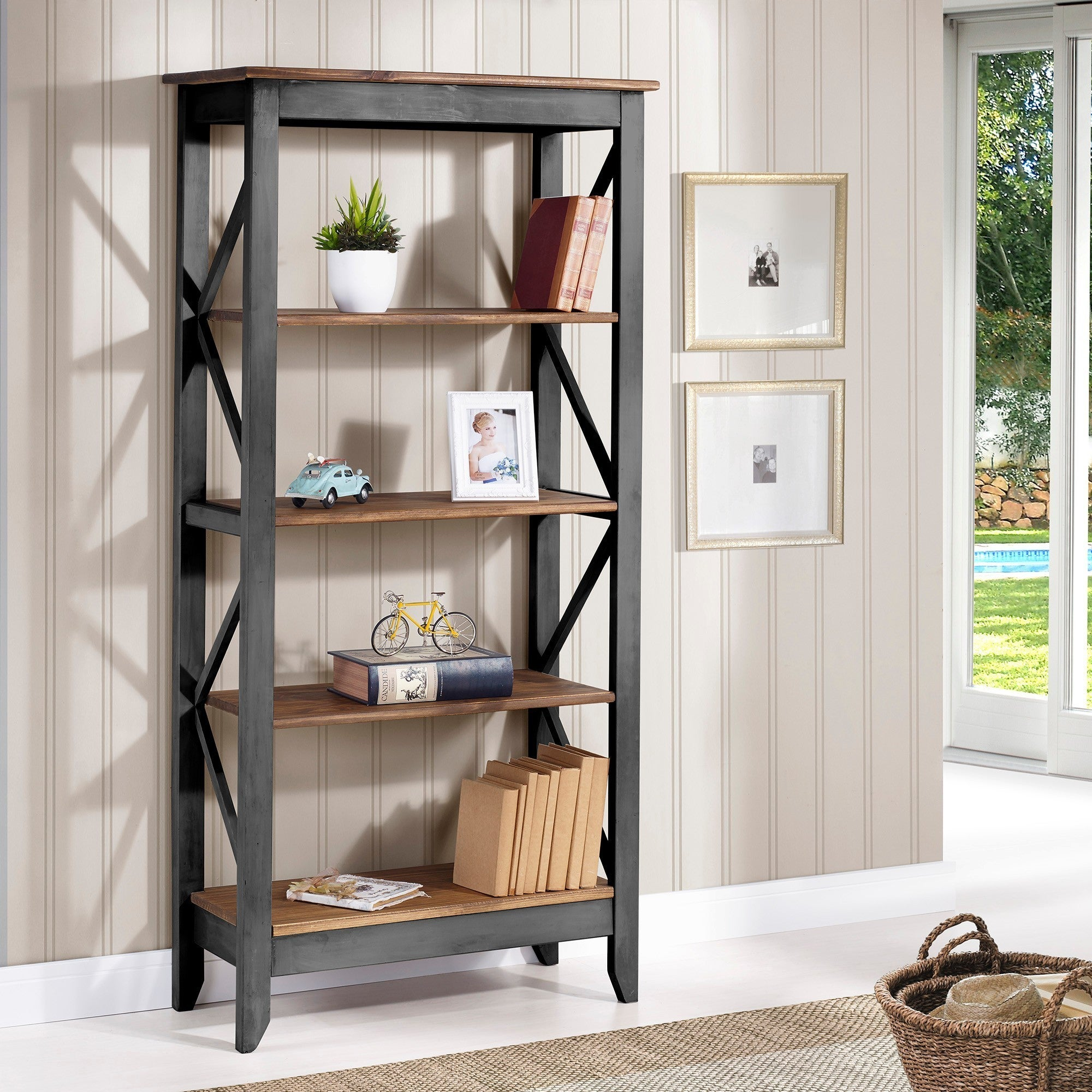 Manhattan Comfort Jay Solid Wood 315 Inch 4 Shelf Bookcase  Free