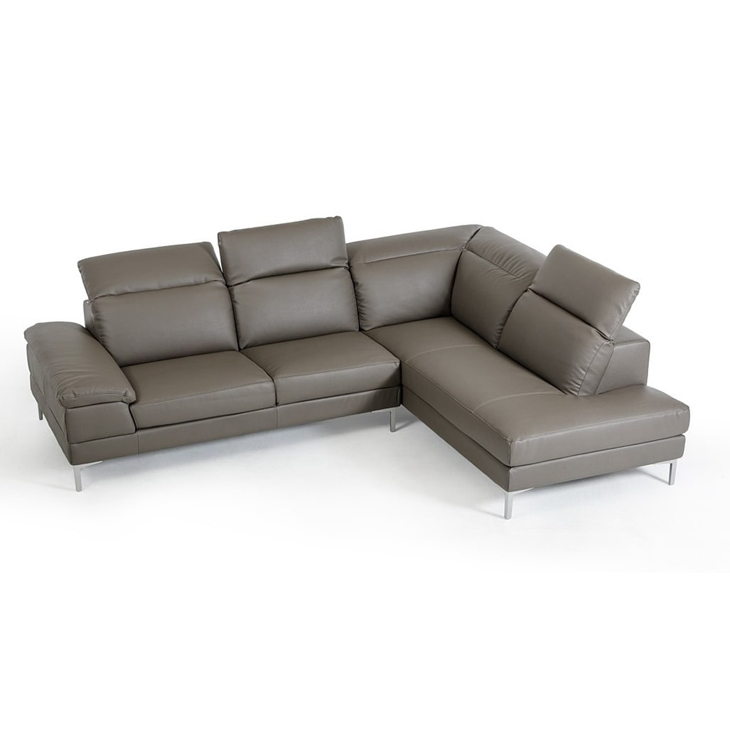 Gentiana Contemporary Grey Leather L Shaped Sofa Free Shipping Today 17433504