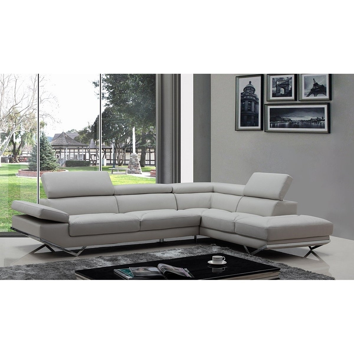 Walden Modern Light Grey Leather L Shape Sofa With Adjule Headrest On Free Shipping Today 17433900