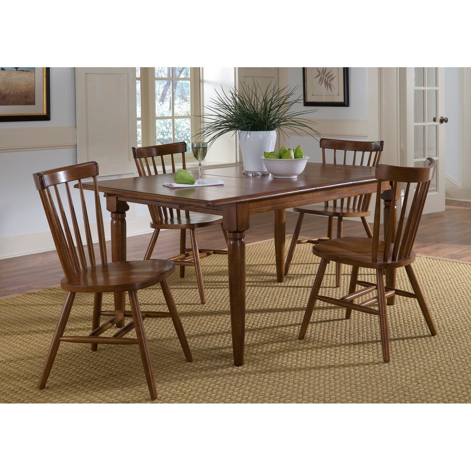 Creations II Tobacco Brown Butterfly Leaf Dining Table Free