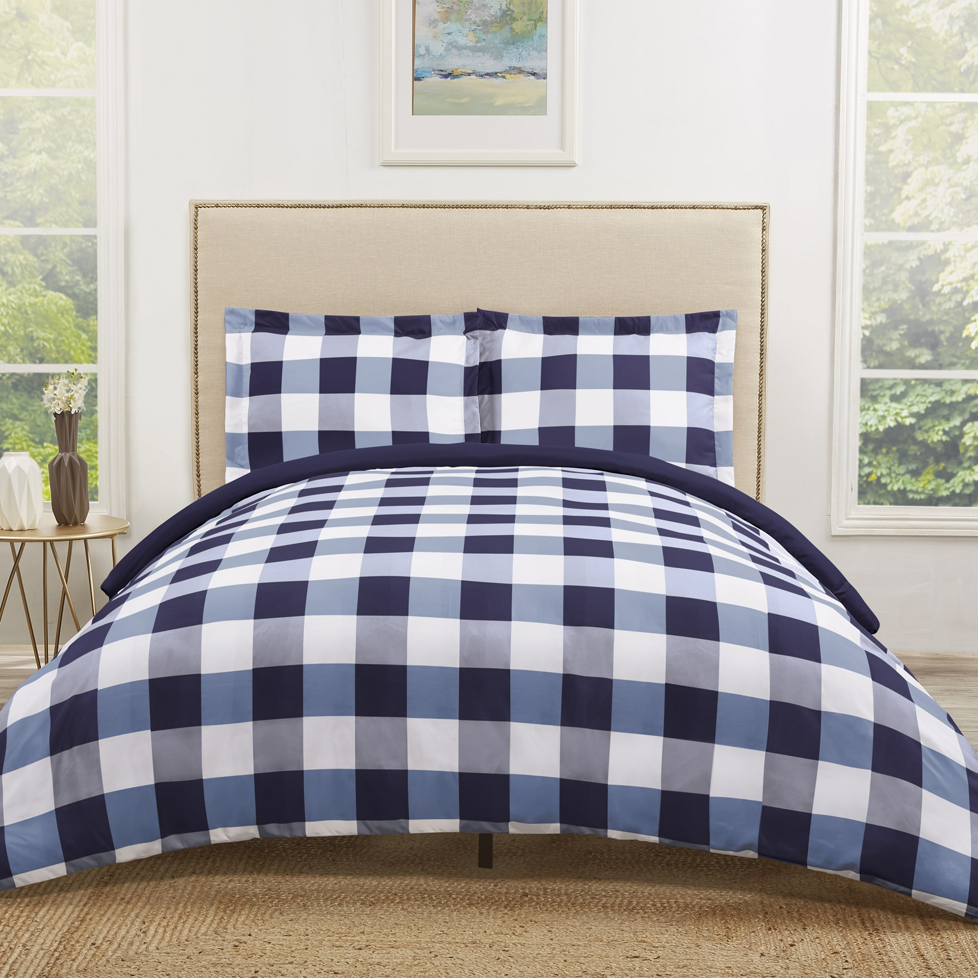 spa bliss check pin buffalo collection designer custom farmhouse comforter bedding guest gingham blue