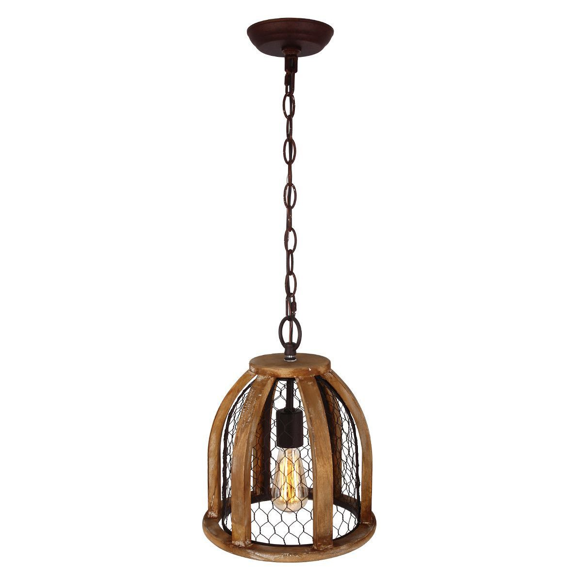 Chicken Wire Farmhouse Pendant Light, Antique Brown - Free Shipping ...