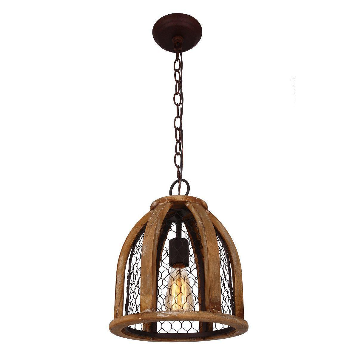Shop Chicken Wire Farmhouse Pendant Light, Antique Brown - Free ...
