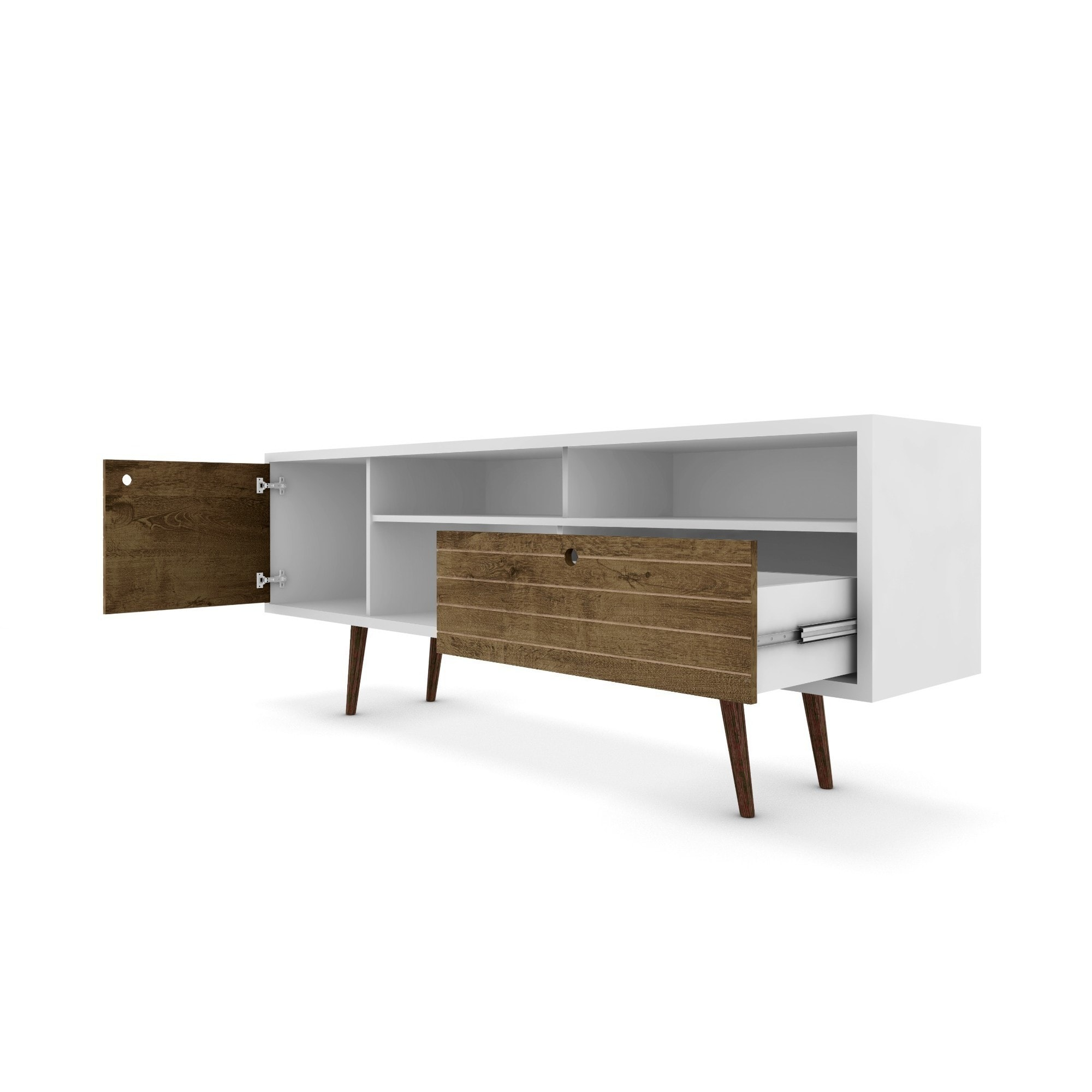 """Manhattan fort Liberty 70 86"""" Mid Century Modern TV Stand with 4"""
