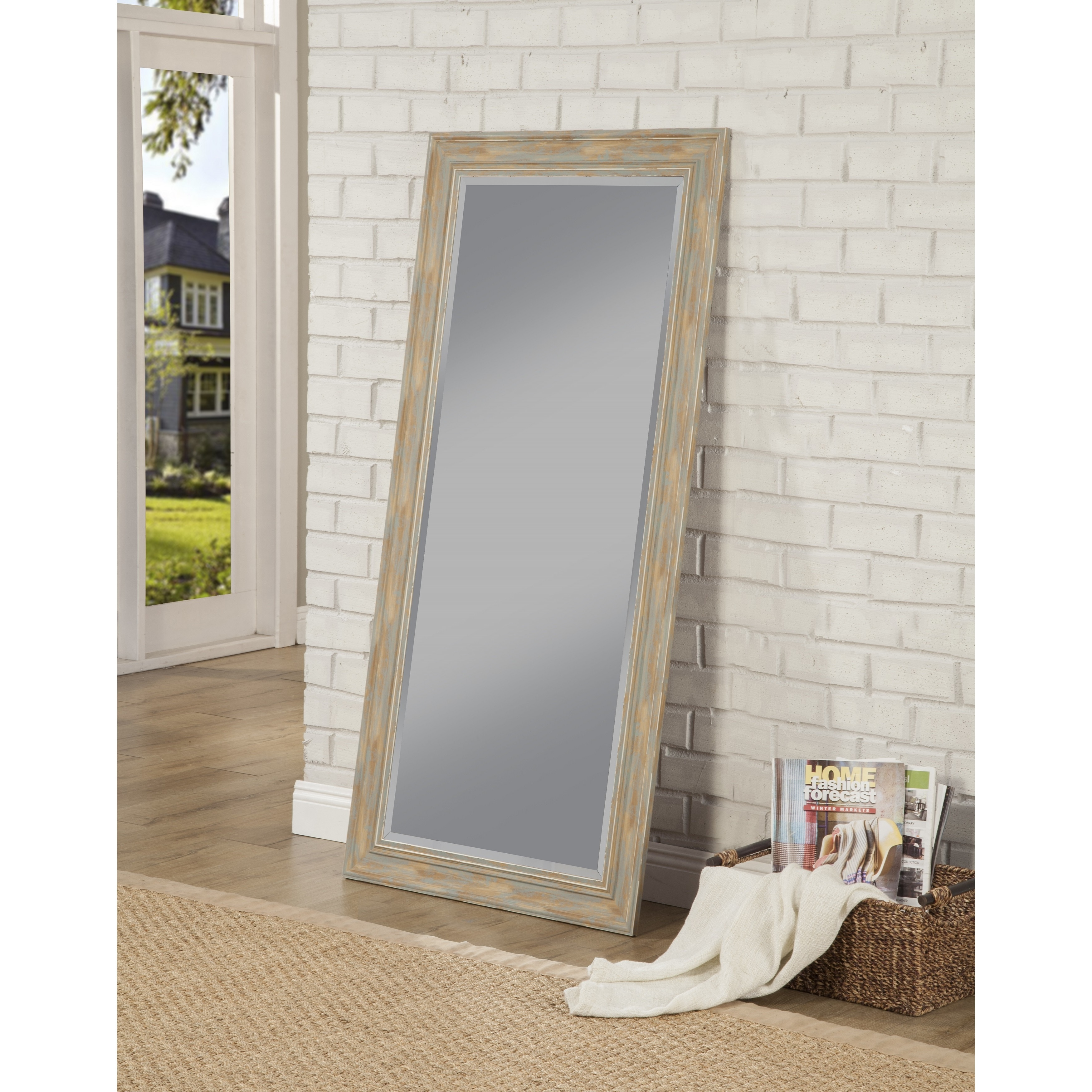 Antique Turquoise Farmhouse Full Length Leaner Mirror Blue White Free Shipping Today 17478450