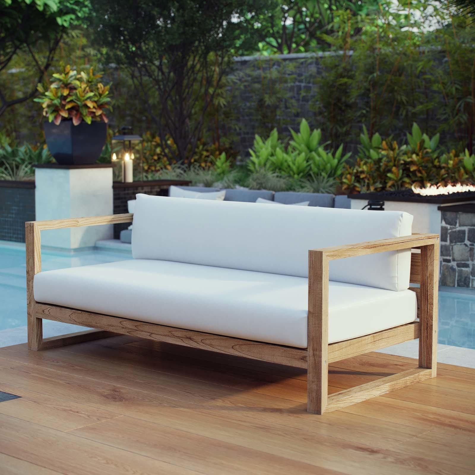 Shop Upland Outdoor Patio Teak Sofa - Free Shipping Today ...