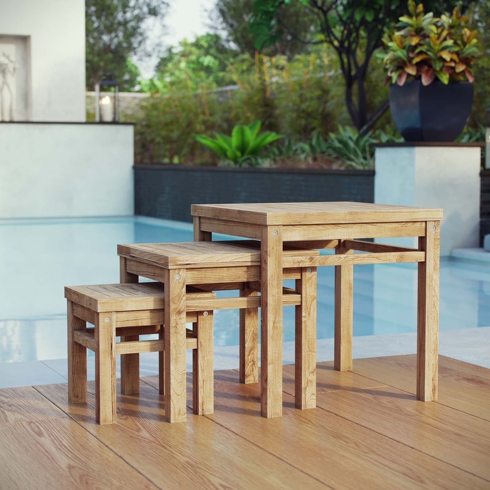 Shop Marina Outdoor Patio Teak Nesting Table On Sale Free