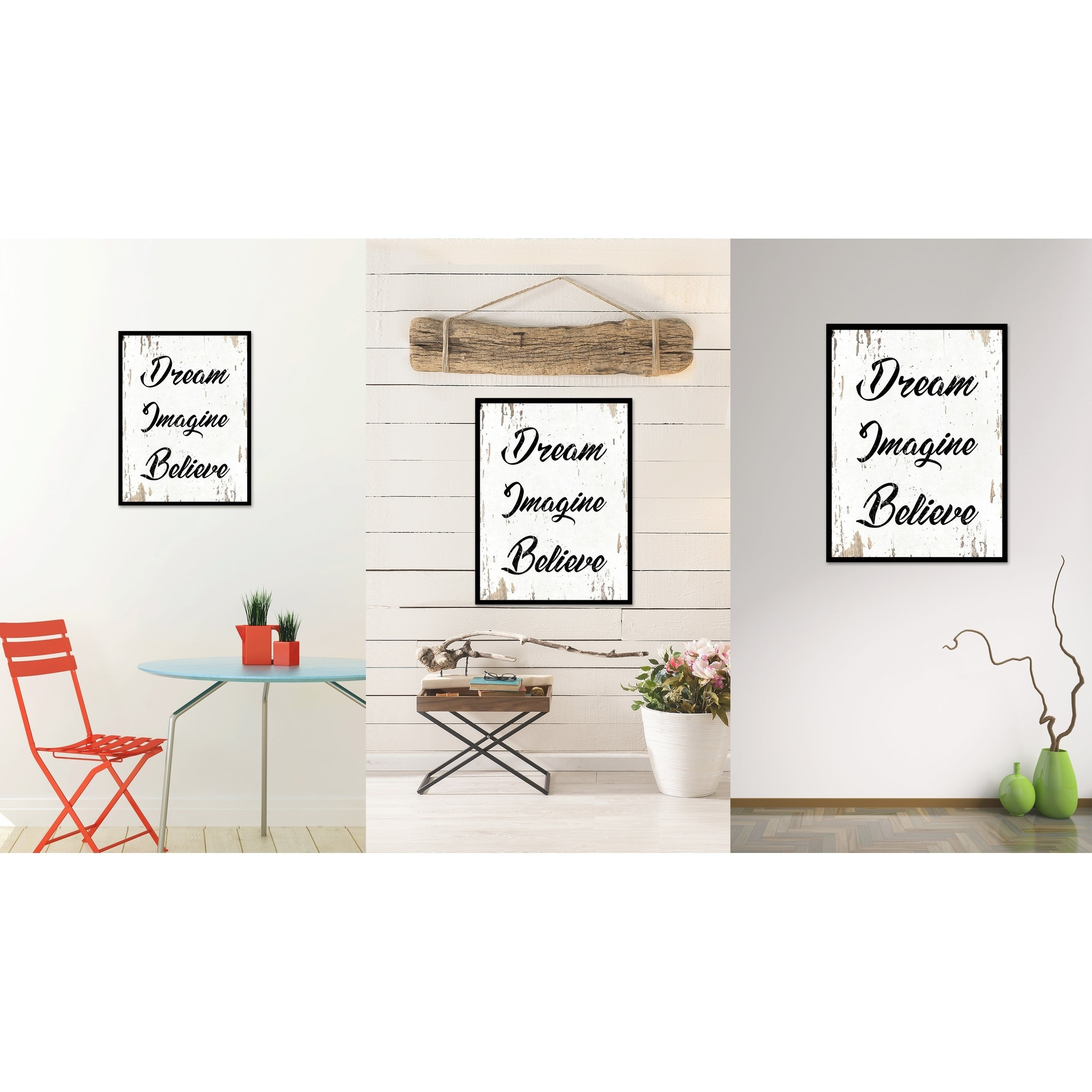 Dream Imagine Believe Quote Saying Canvas Print Picture Frame Home ...