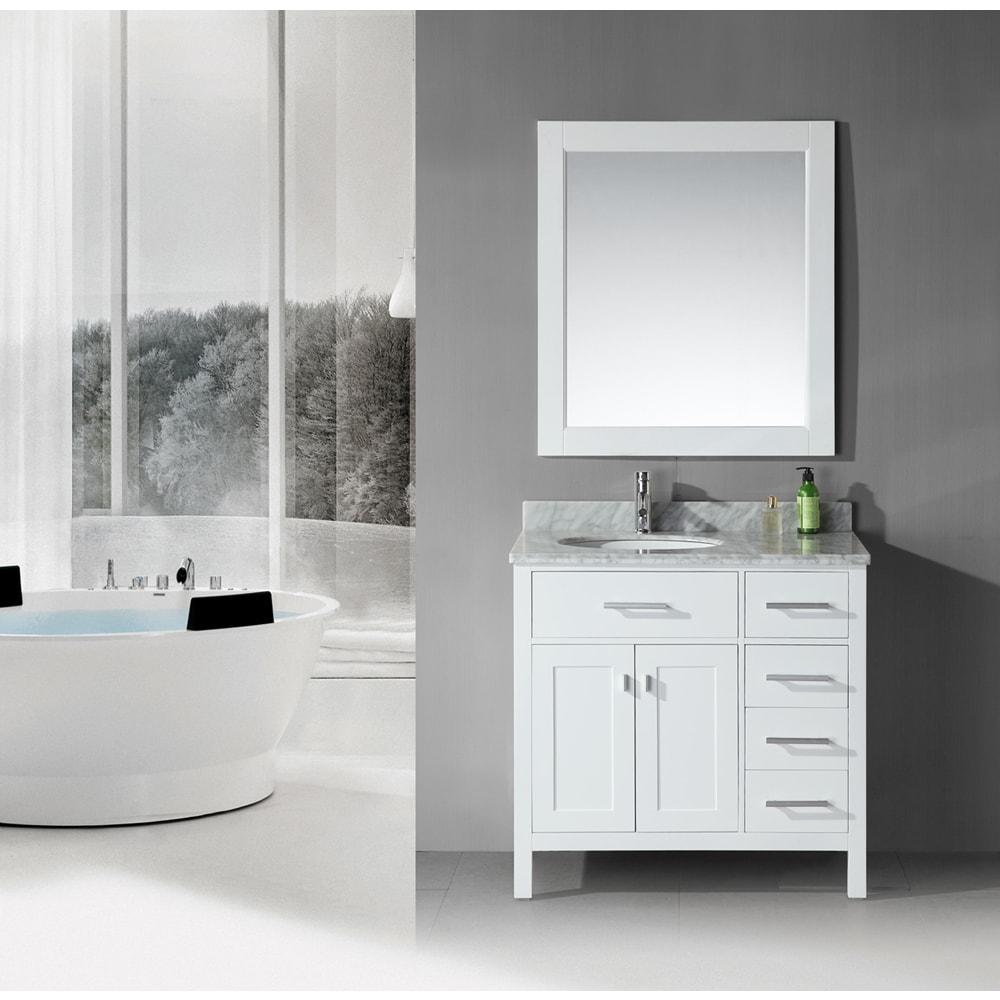 36 inch Belvedere Traditional Freestanding White Bathroom Vanity ...