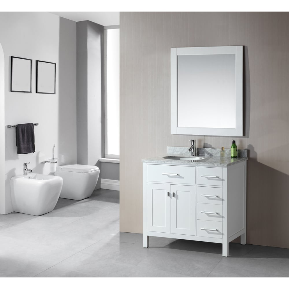 Shop 36 inch Belvedere Traditional Freestanding White Bathroom ...